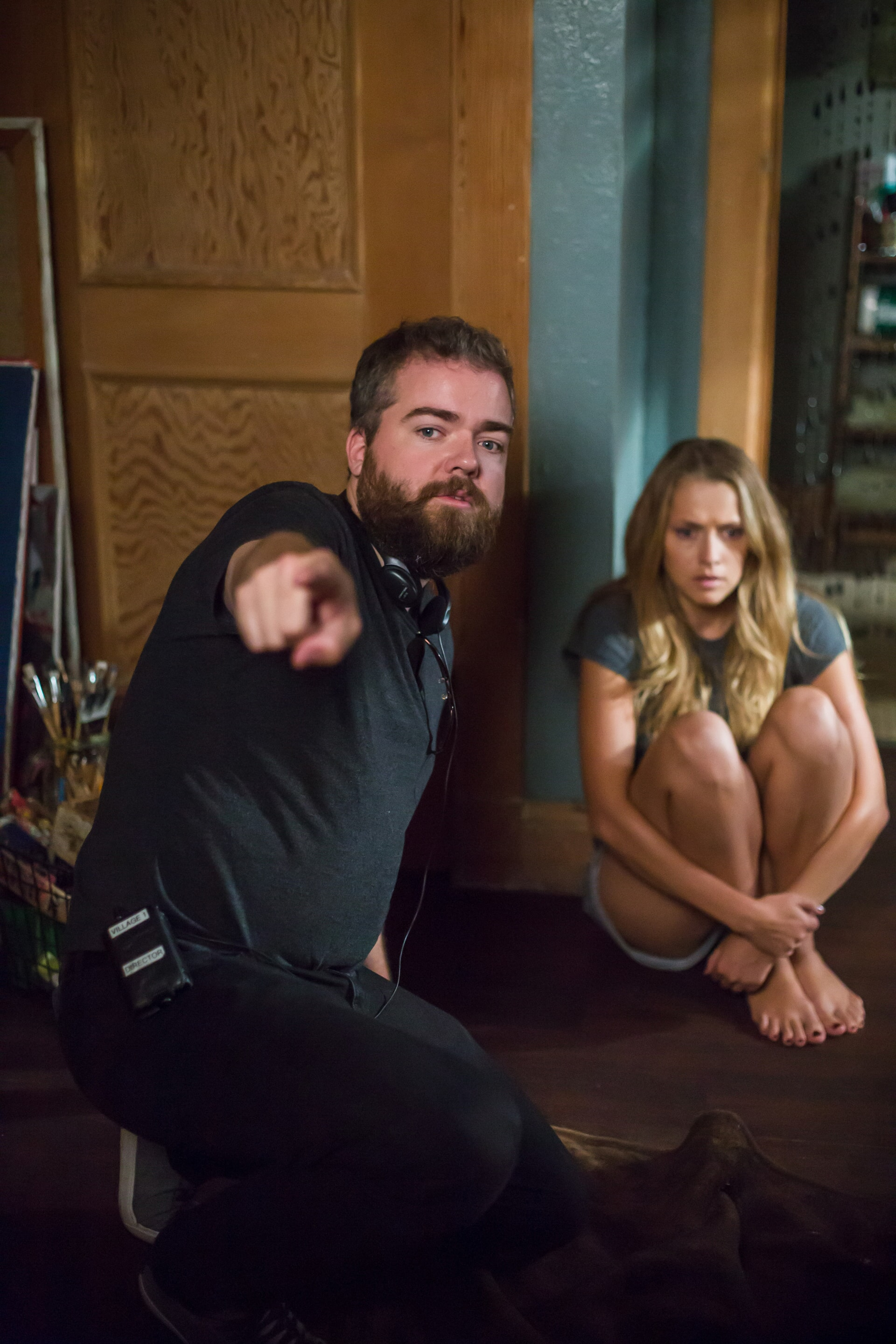 Director DAVID F. SANDBERG and TERESA PALMER on the set