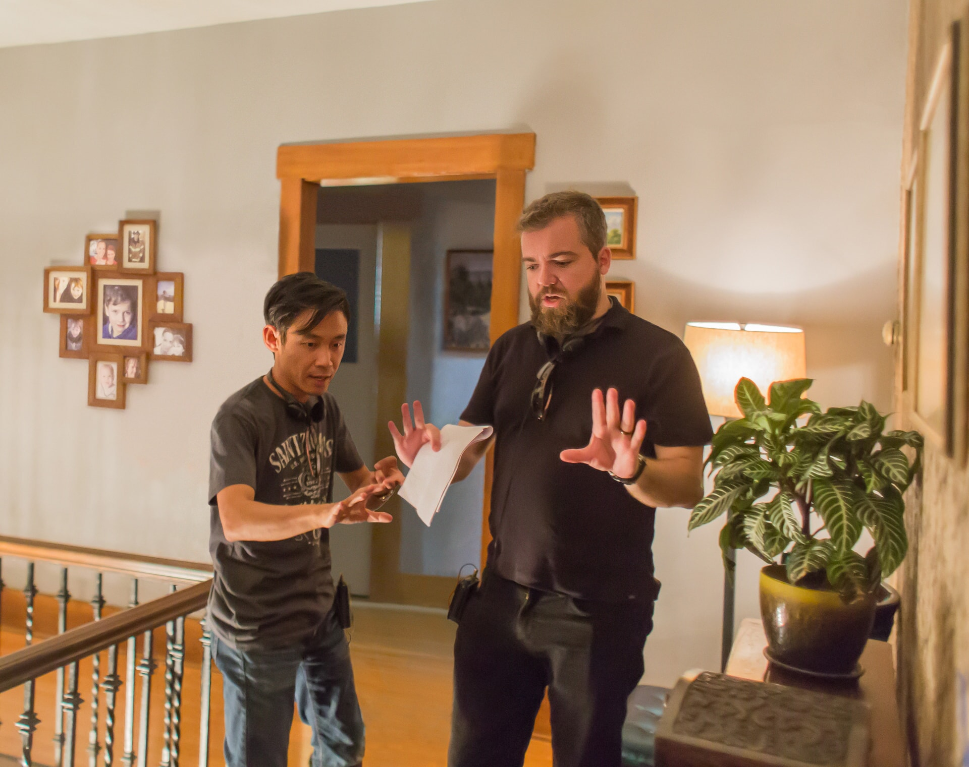 Producer JAMES WAN and director DAVID F. SANDBERG on the set