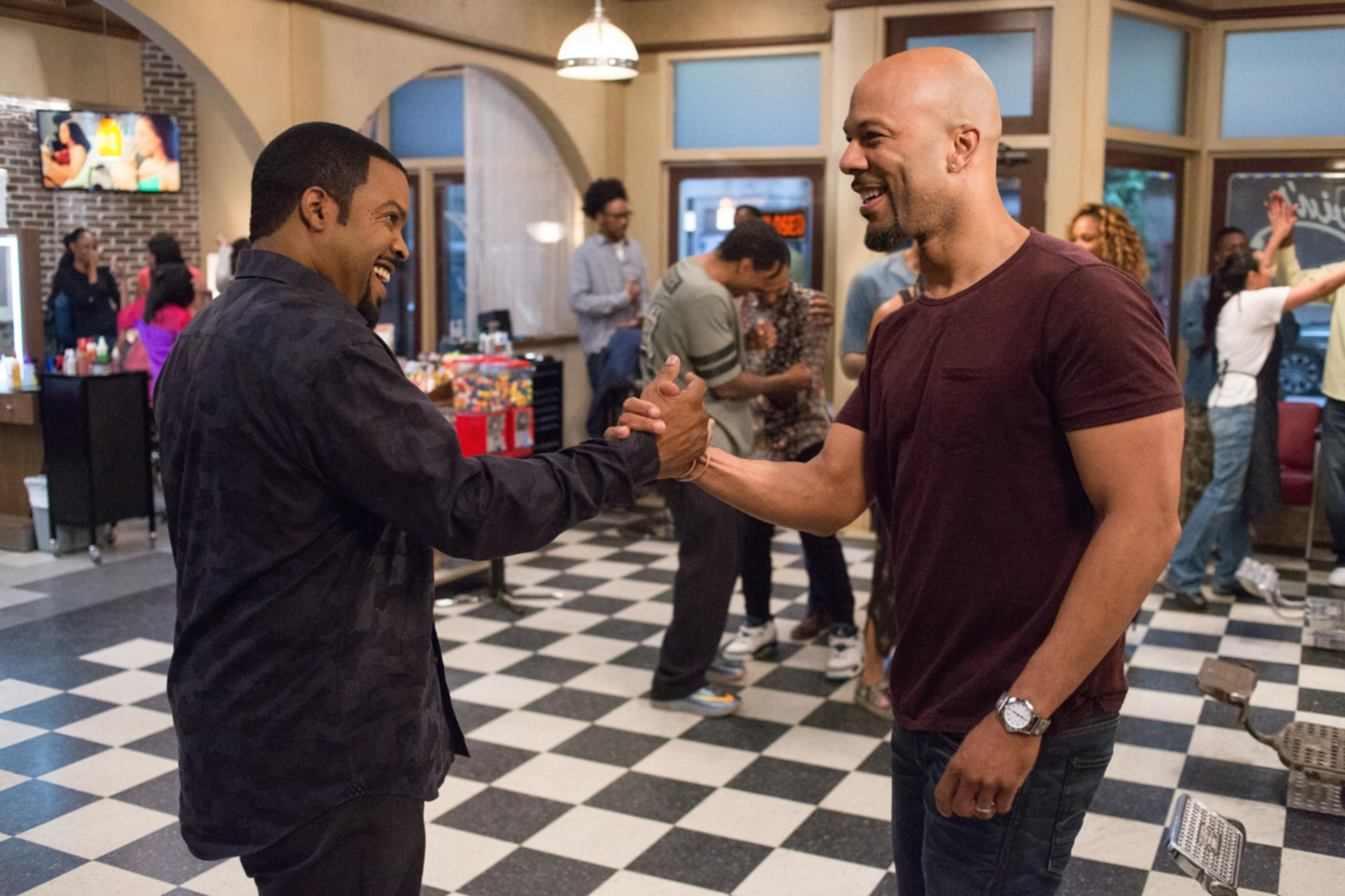 """ICE CUBE as Calvin and COMMON as Rashad in New Line Cinema's and Metro-Goldwyn-Mayer Pictures' comedy """"BARBERSHOP: THE NEXT CUT, """" a Warner Bros. Pictures release."""