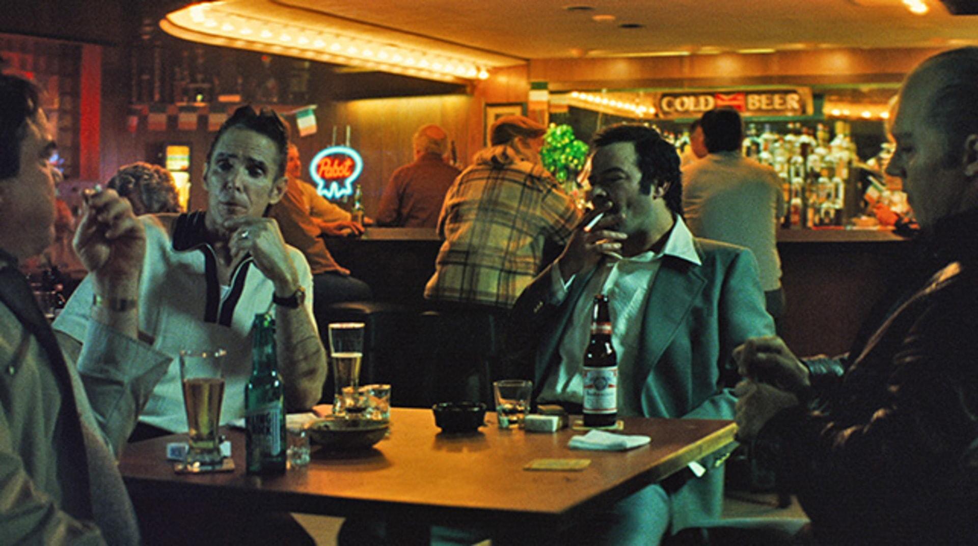 "W EARL BROWN as John Martorano, MARK MAHONEY as Mickey Maloney, RORY COCHRANE as Stephen Flemmi and JOHNNY DEPP as Whitey Bulger in the drama ""BLACK MASS."""