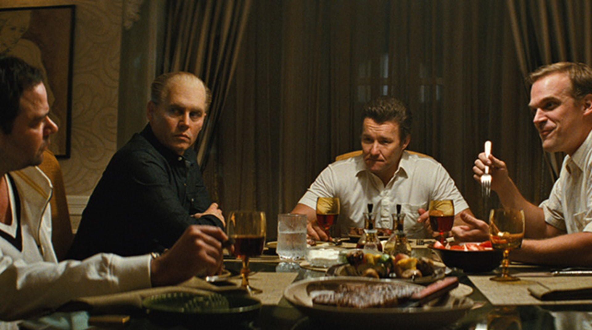 "RORY COCHRANE as Stephen Flemmi, JOHNNY DEPP as Whitey Bulger, JOEL EDGERTON as John Connolly and DAVID HARBOUR as John Morris in the drama ""BLACK MASS."""