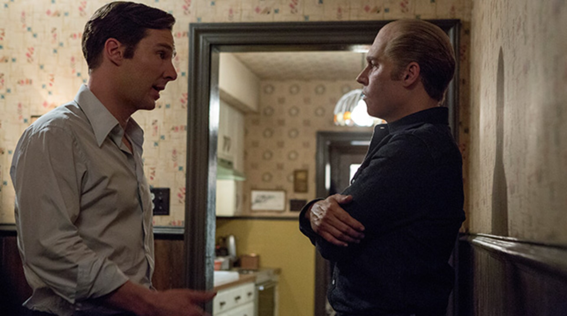 "BENEDICT CUMBERBATCH as Billy Bulger and JOHNNY DEPP as Whitey Bulger in the drama ""BLACK MASS."""