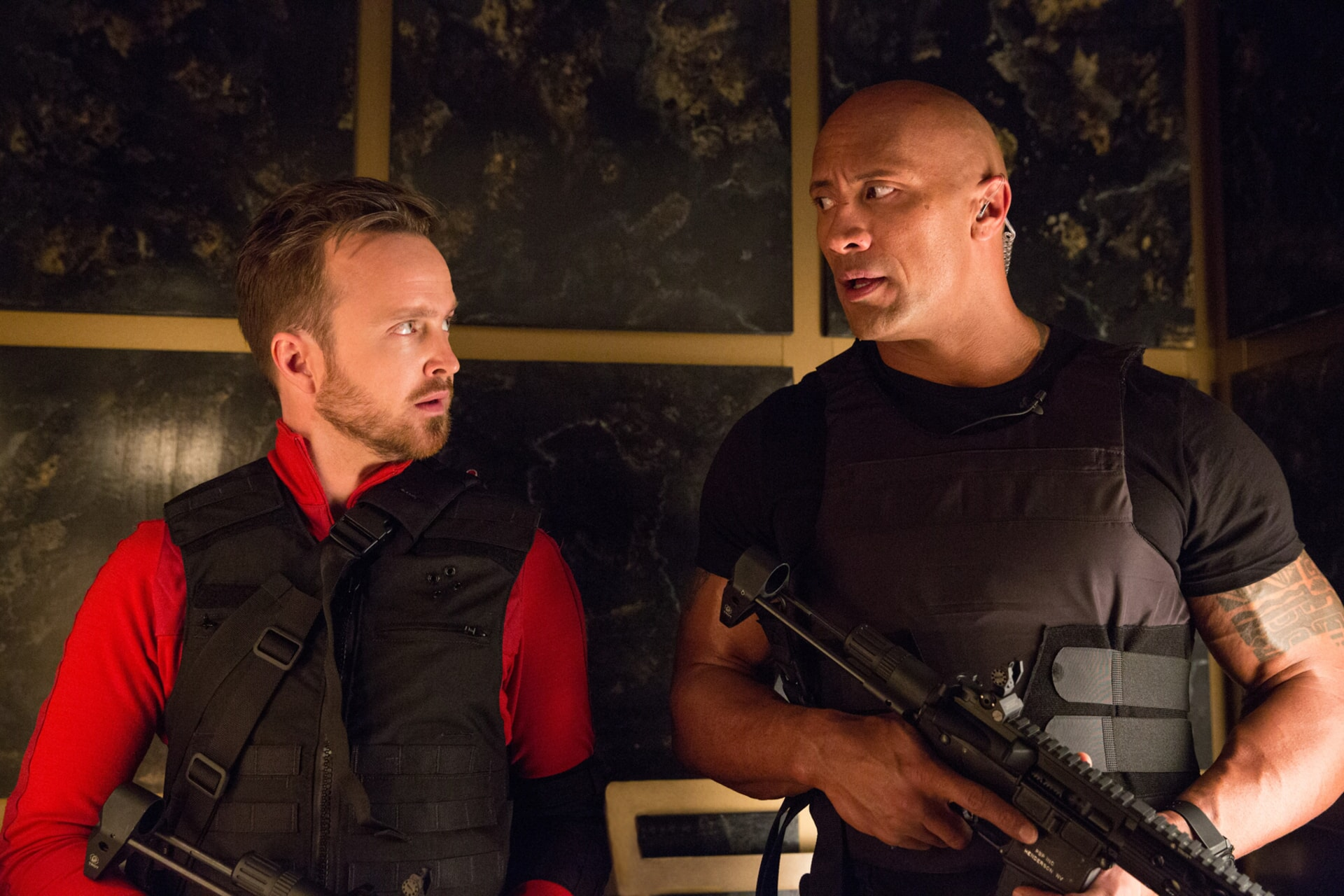 AARON PAUL as Phil and DWAYNE JOHNSON as Bob