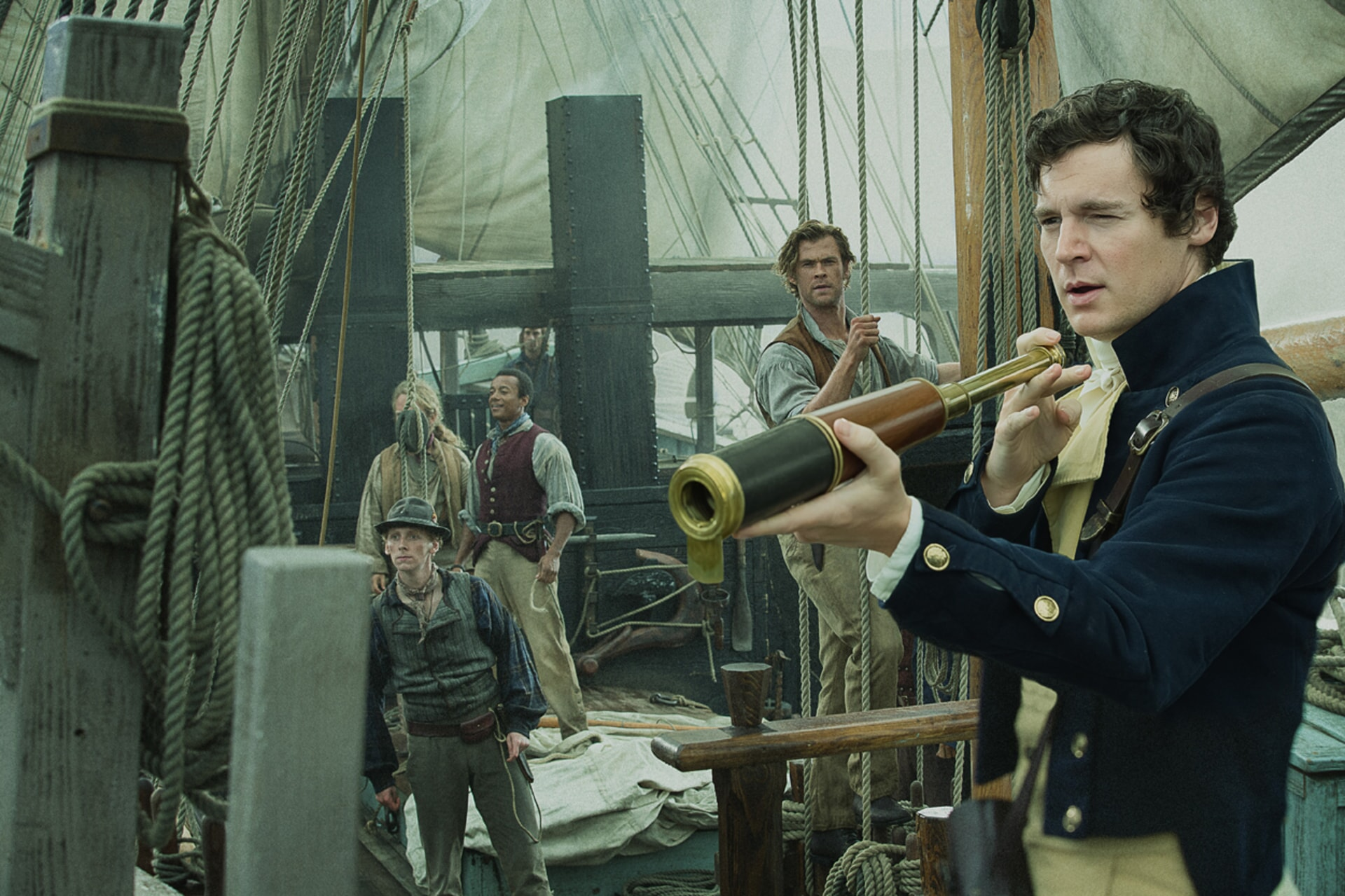 "EDWARD ASHLEY as Barzillai Ray, MORGAN CHETCUTI as Sheppard, CHRIS HEMSWORTH as Owen Chase and BENJAMIN WALKER as George Pollard in Warner Bros. Pictures' and Village Roadshow Pictures' action adventure ""IN THE HEART OF THE SEA,"" distributed worldwide by Warner Bros. Pictures and in select territories by Village Roadshow Pictures."