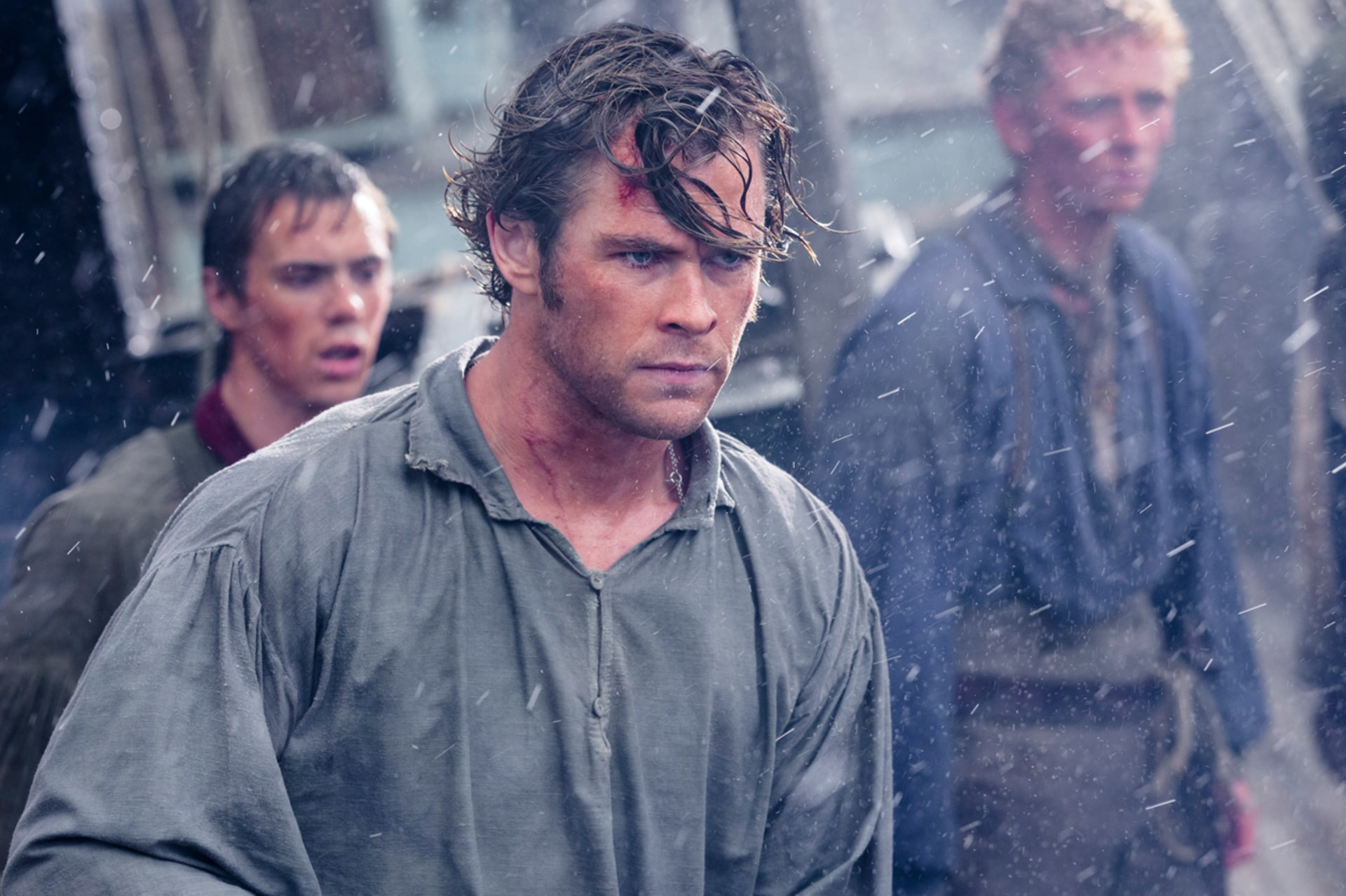 "SAM KELLEY as Ramsdell, CHRIS HEMSWORTH as Owen Chase and EDWARD ASHLEY as Barzillai Ray in Warner Bros. Pictures' and Village Roadshow Pictures' action adventure ""IN THE HEART OF THE SEA,"" distributed worldwide by Warner Bros. Pictures and in select territories by Village Roadshow Pictures."
