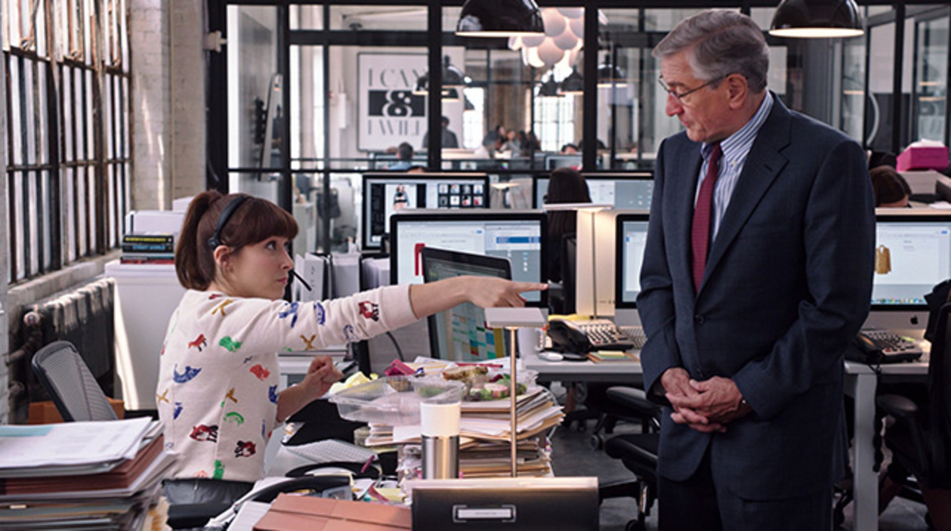 "CHRISTINA SCHERER as Becky and ROBERT DE NIRO as Ben Whittaker in Warner Bros. Pictures' comedy ""THE INTERN."""
