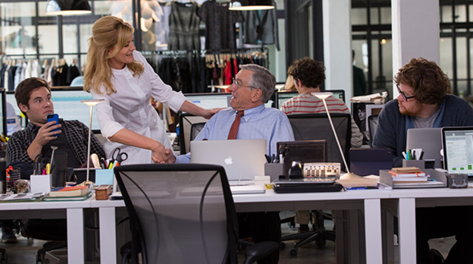 "ADAM DEVINE as Jason, RENE RUSSO as Fiona, ROBERT DE NIRO as Ben Whittaker and ZACK PEARLMAN as Davis in Warner Bros. Pictures' comedy ""THE INTERN."""