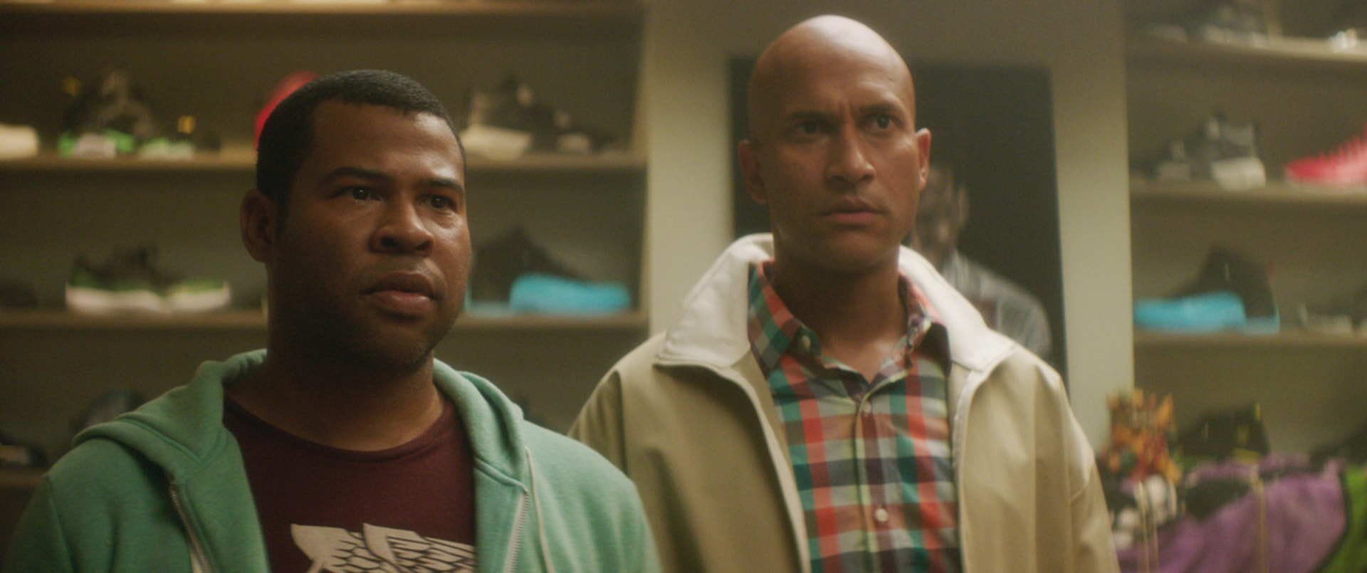 JORDAN PEELE as Rell and KEEGAN-MICHAEL KEY as Clarence looking perplexed