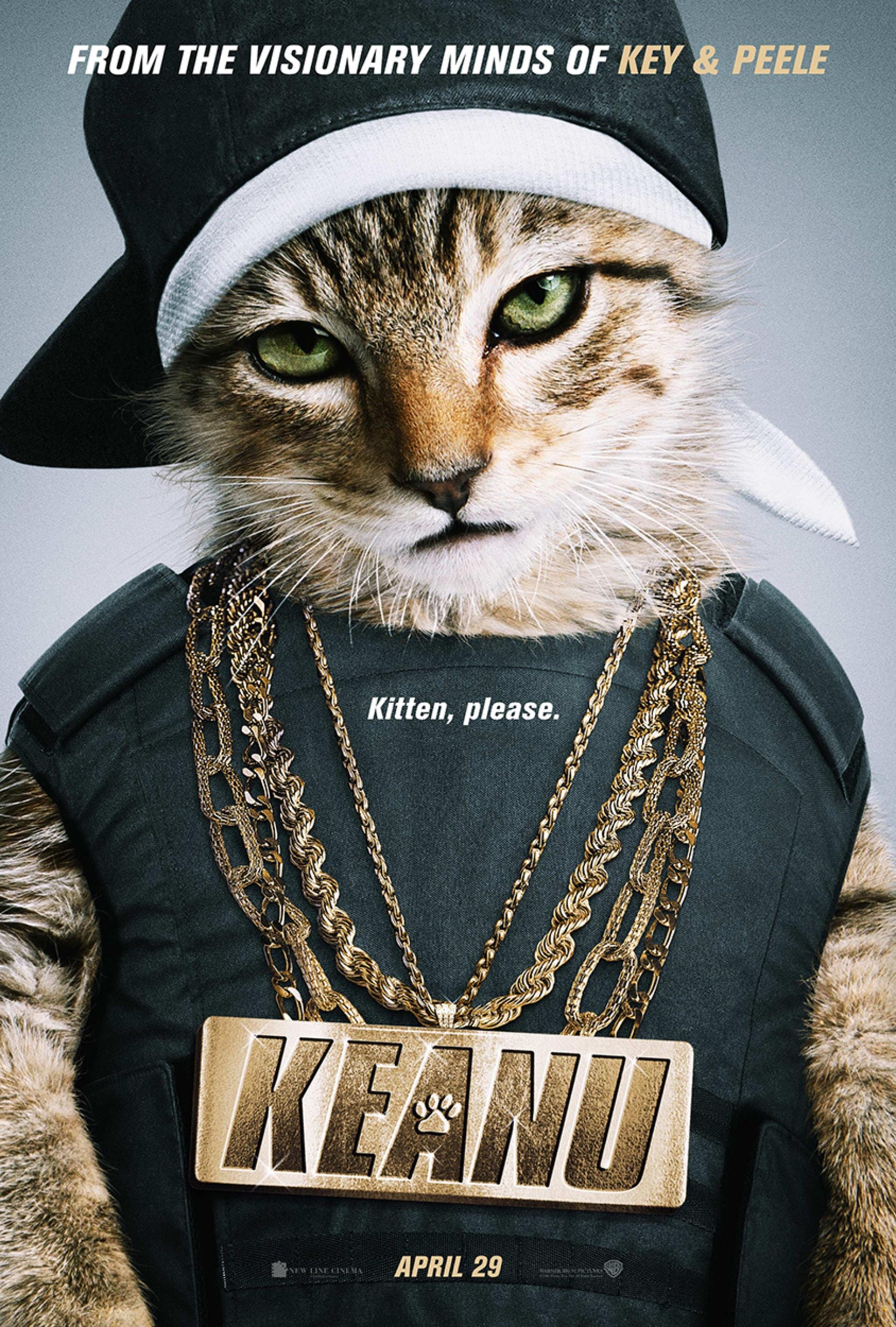 """Keanu poster: Kitten dressed in """"urban gear"""""""