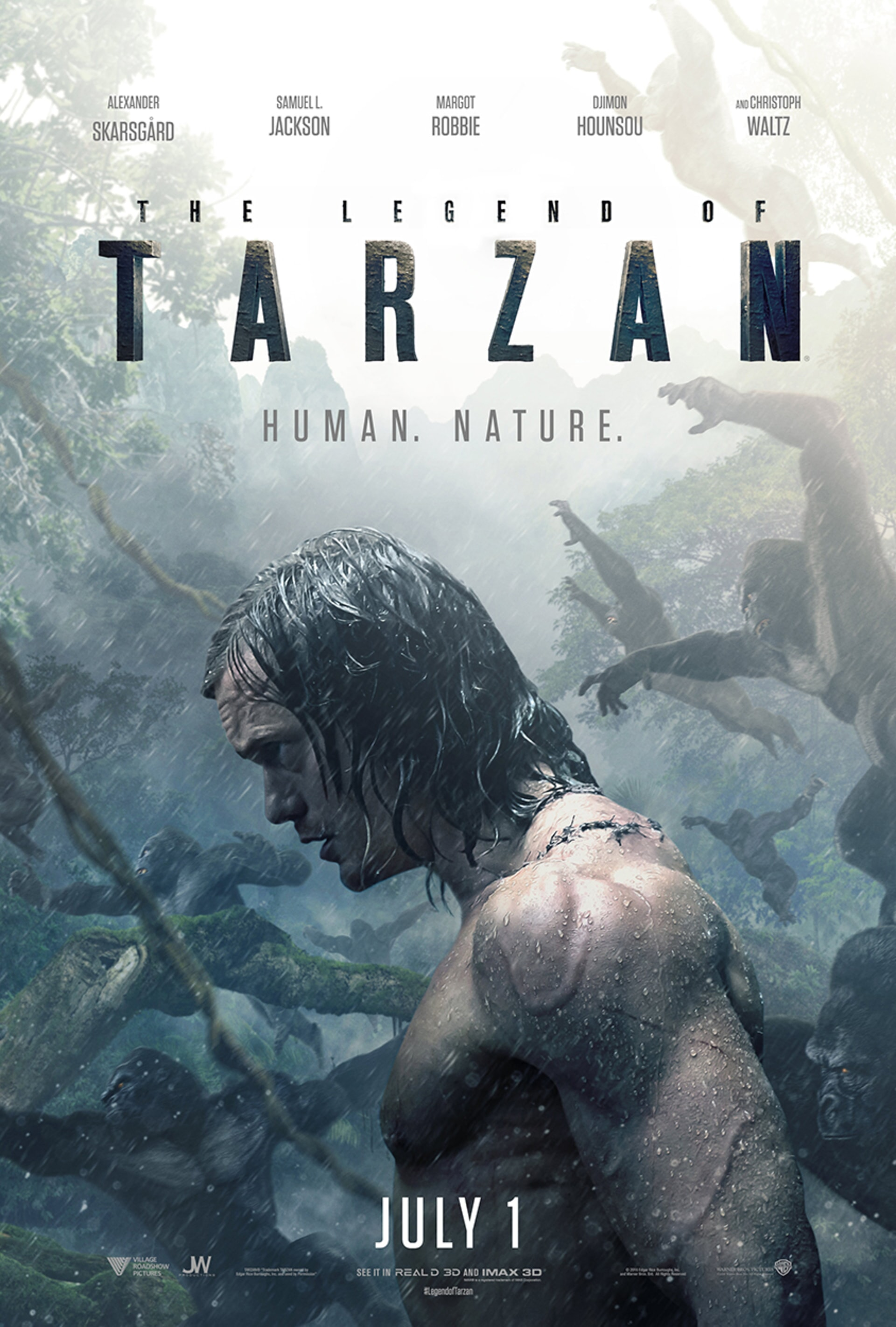 The Legend of Tarzan Poster: Alexander Skarsgård with apes and jungle in background