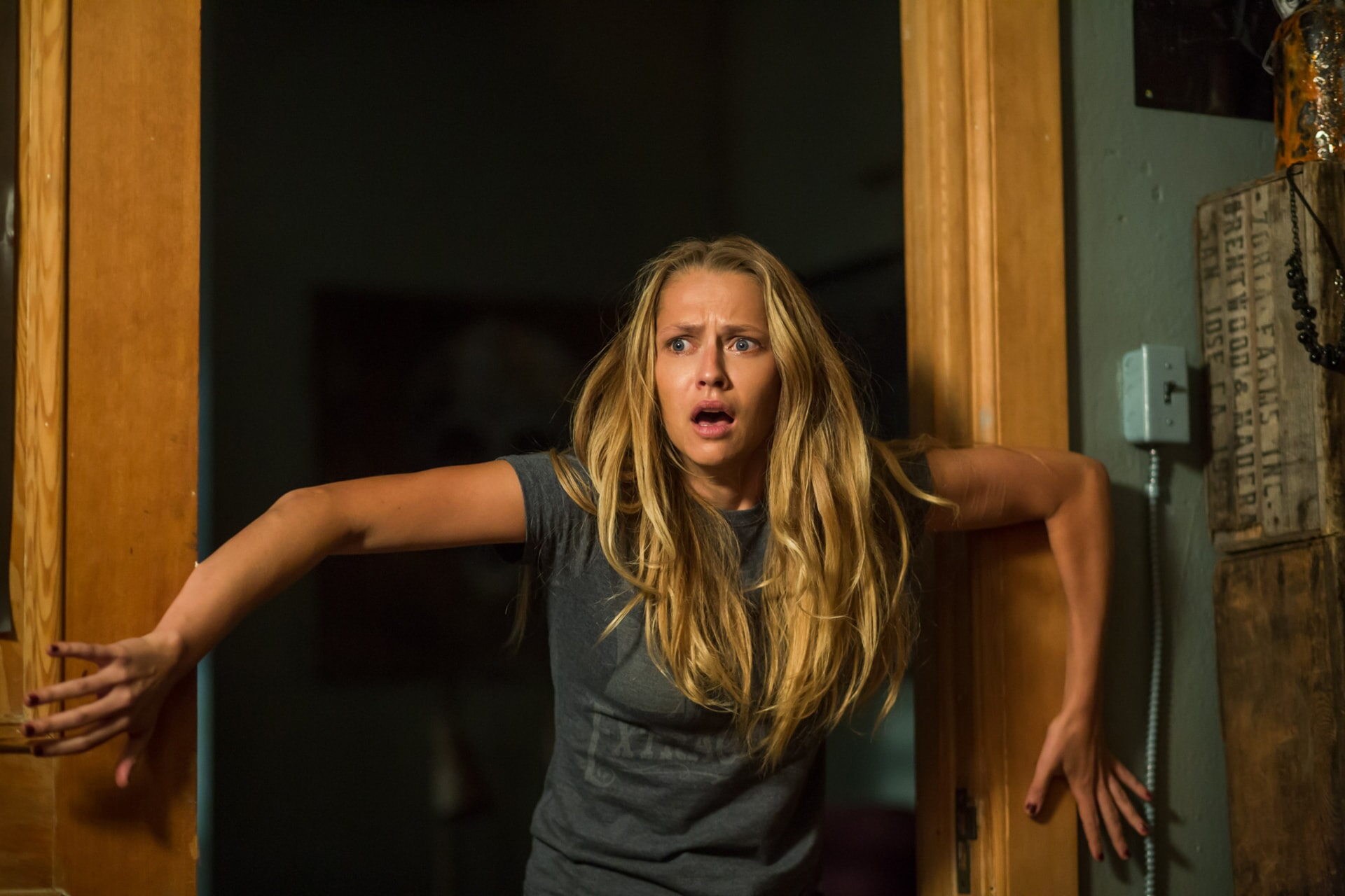 "TERESA PALMER as Rebecca in New Line Cinema's horror film ""LIGHTS OUT,"" a Warner Bros. Pictures release."