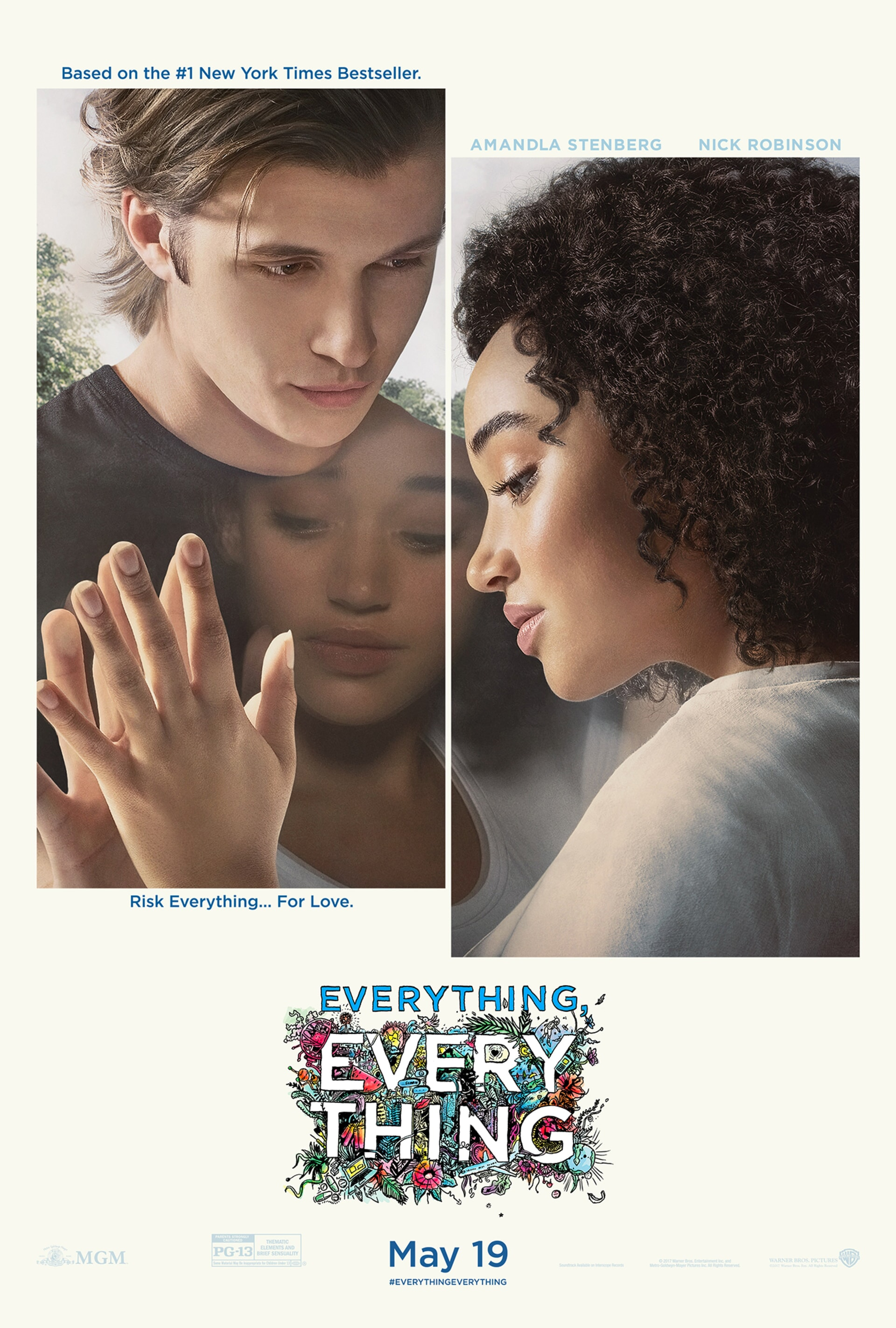 Amandla Stenberg and Nick Robinson looking through a window in poster art for Everything Everything