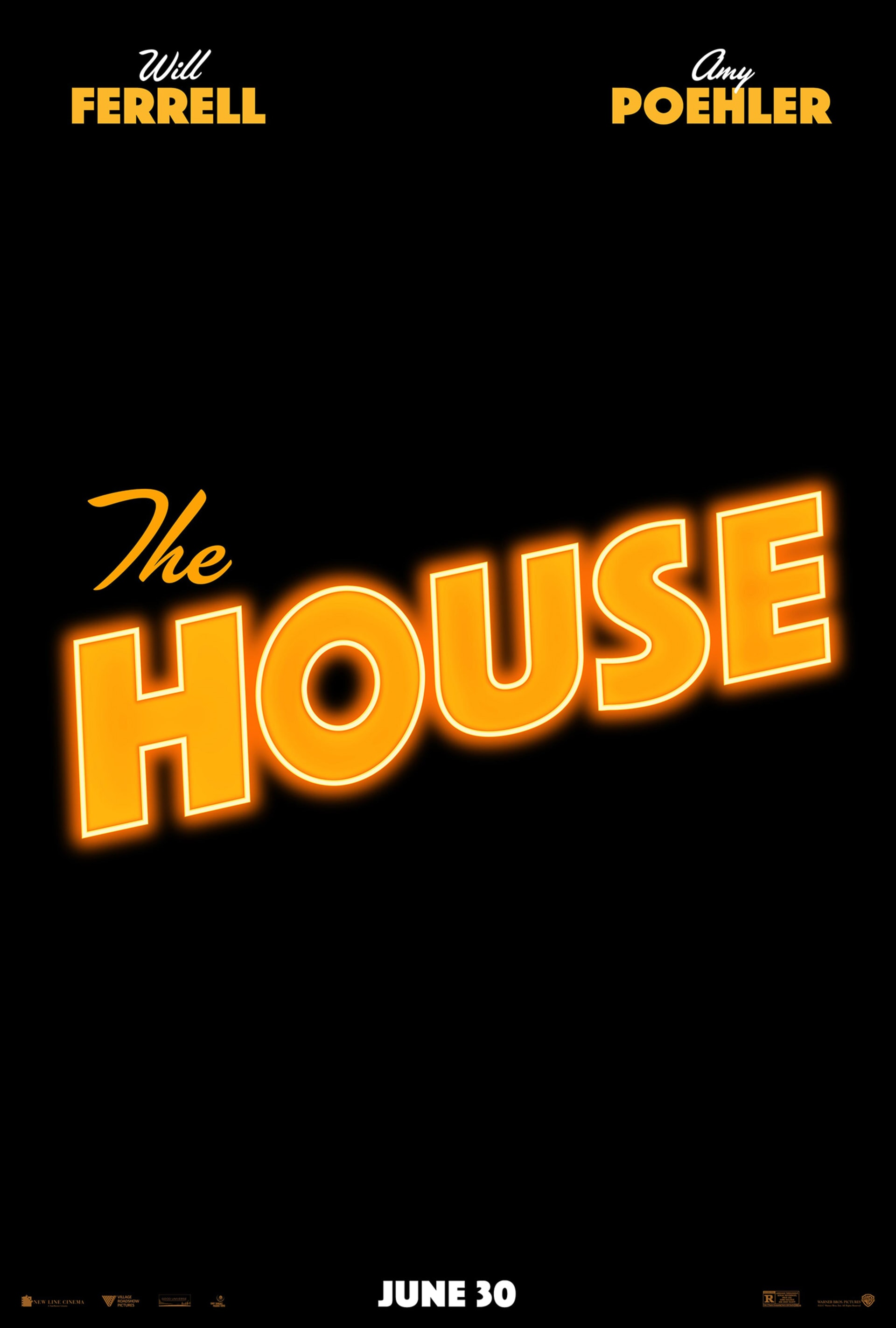 The House poster - logo in bright orange on black background