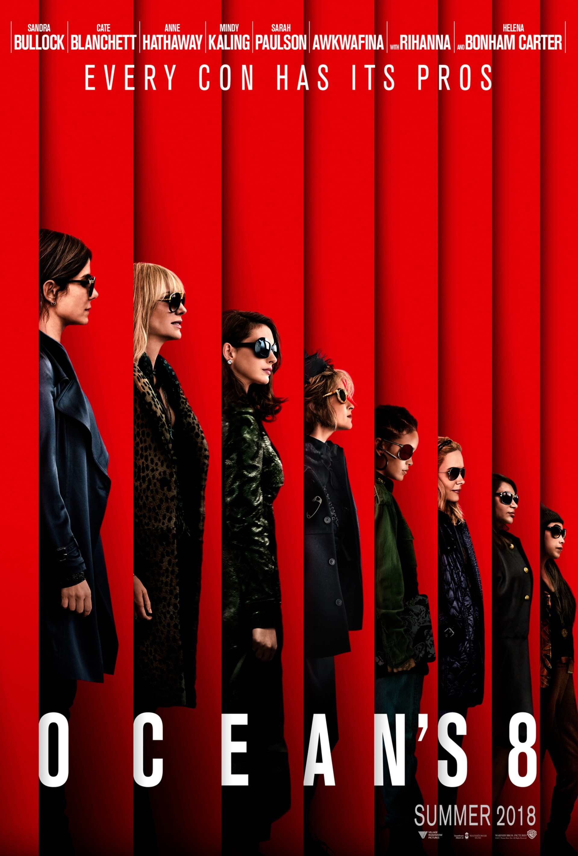cast of Ocean's 8 in profile in front of a red background