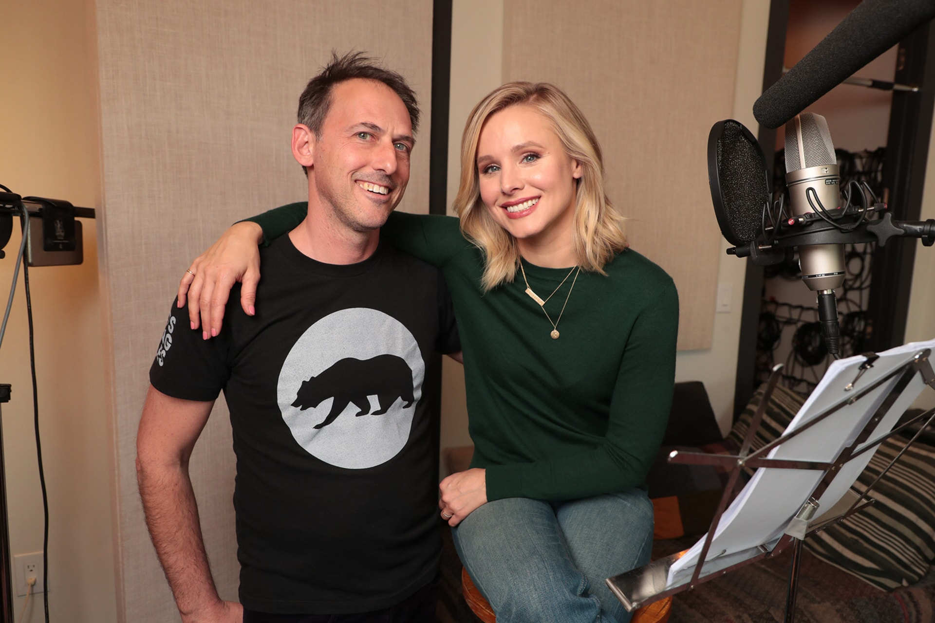 Co-Director/Producer/Writer DREW FELLMAN with KRISTEN BELL who narrates the original IMAX Entertainment documentary adventure PANDAS, a heartwarming global story about reintroducing captive born pandas to the wild.