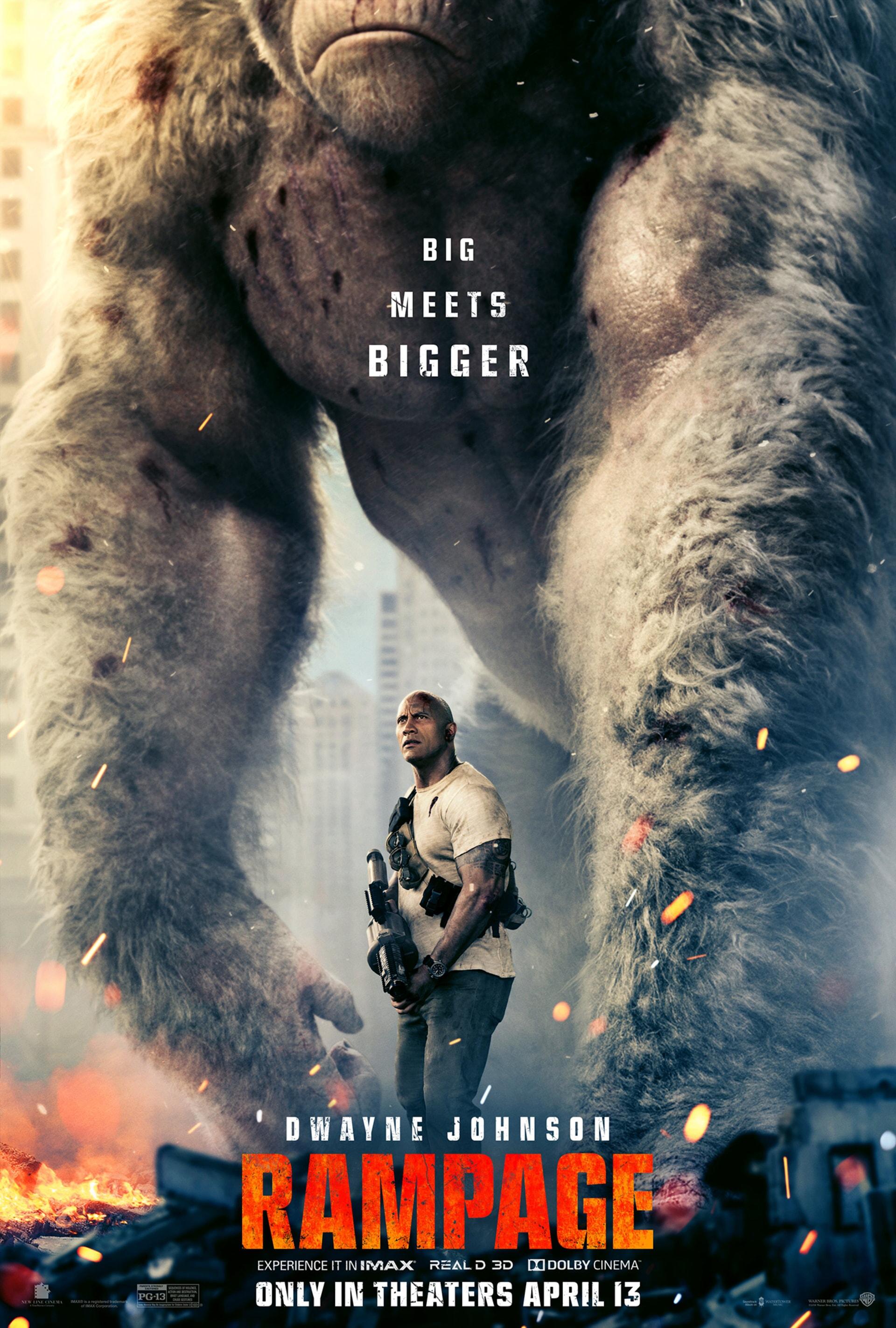 Dwayne Johnson standing under building-size gorilla in Rampage poster