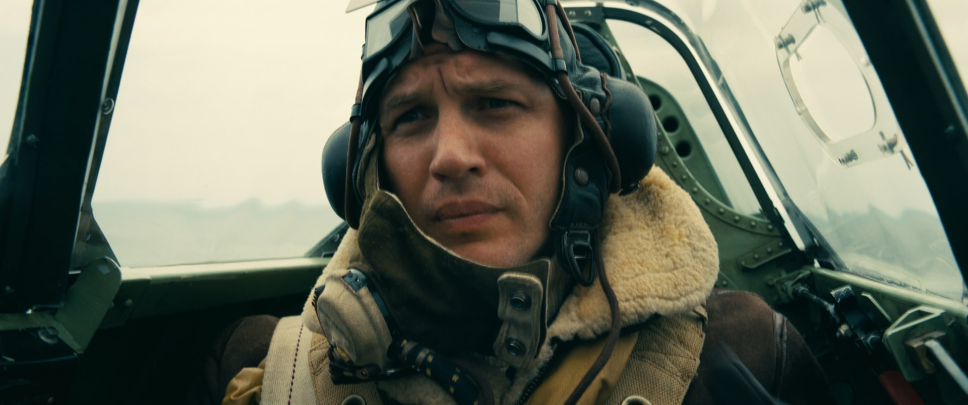 "TOM HARDY as Farrier in the Warner Bros. Pictures action thriller ""DUNKIRK,"" a Warner Bros. Pictures release."