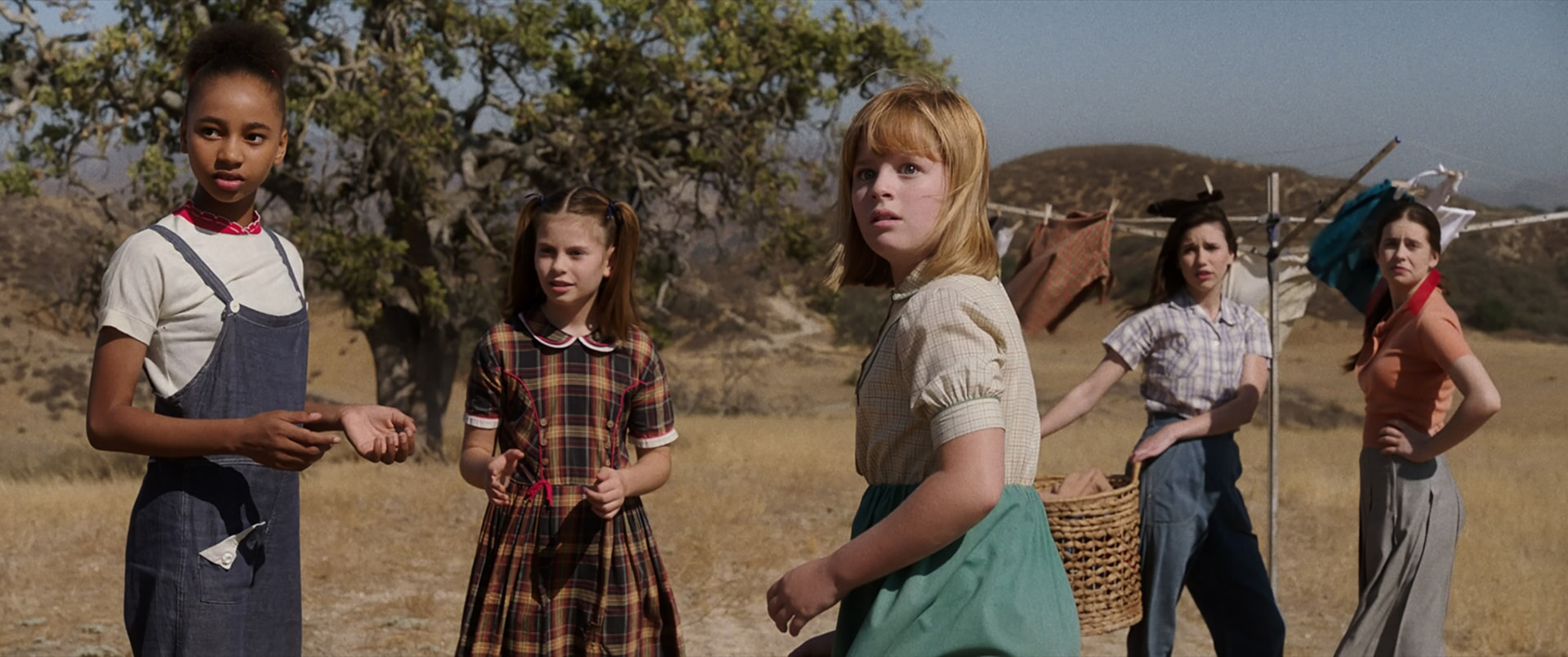 """TAYLER BUCK as Kate, LOU LOU SAFRAN as Tierney, LULU WILSON as Linda, GRACE FULTON as Carol and PHILIPPA COULTHARD as Nancy in New Line Cinema's supernatural thriller """"ANNABELLE: CREATION,"""" a Warner Bros. Pictures release."""