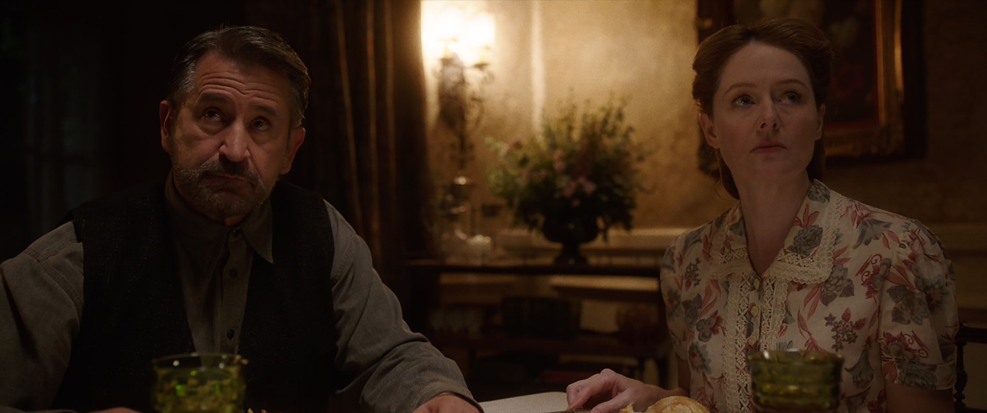 """ANTHONY LaPAGLIA as Samuel Mullins and MIRANDA OTTO as Esther Mullins in New Line Cinema's supernatural thriller """"ANNABELLE: CREATION,"""" a Warner Bros. Pictures release."""