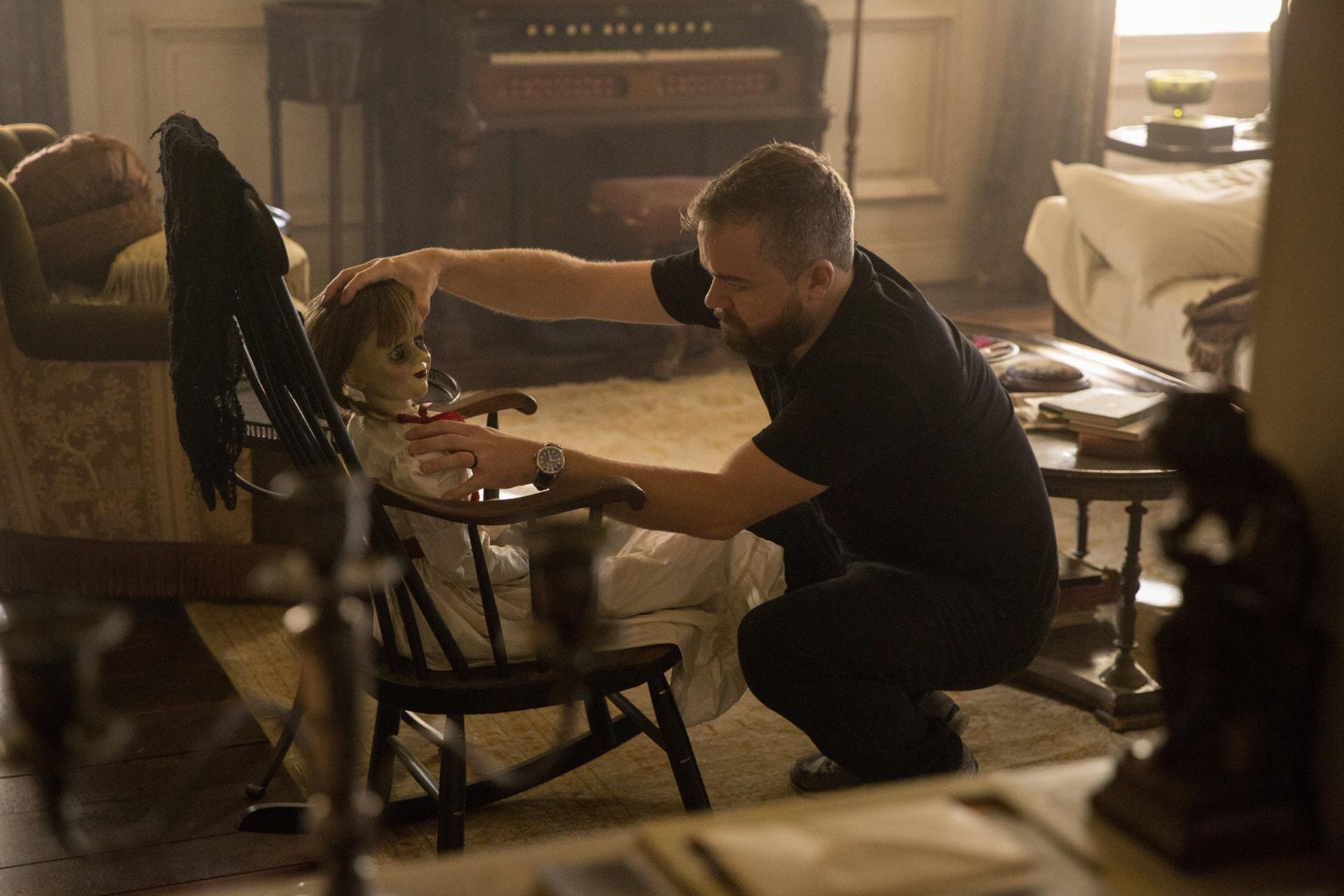 "Director DAVID F. SANDBERG on the set of New Line Cinema's supernatural thriller ""ANNABELLE: CREATION,"" a Warner Bros. Pictures release."