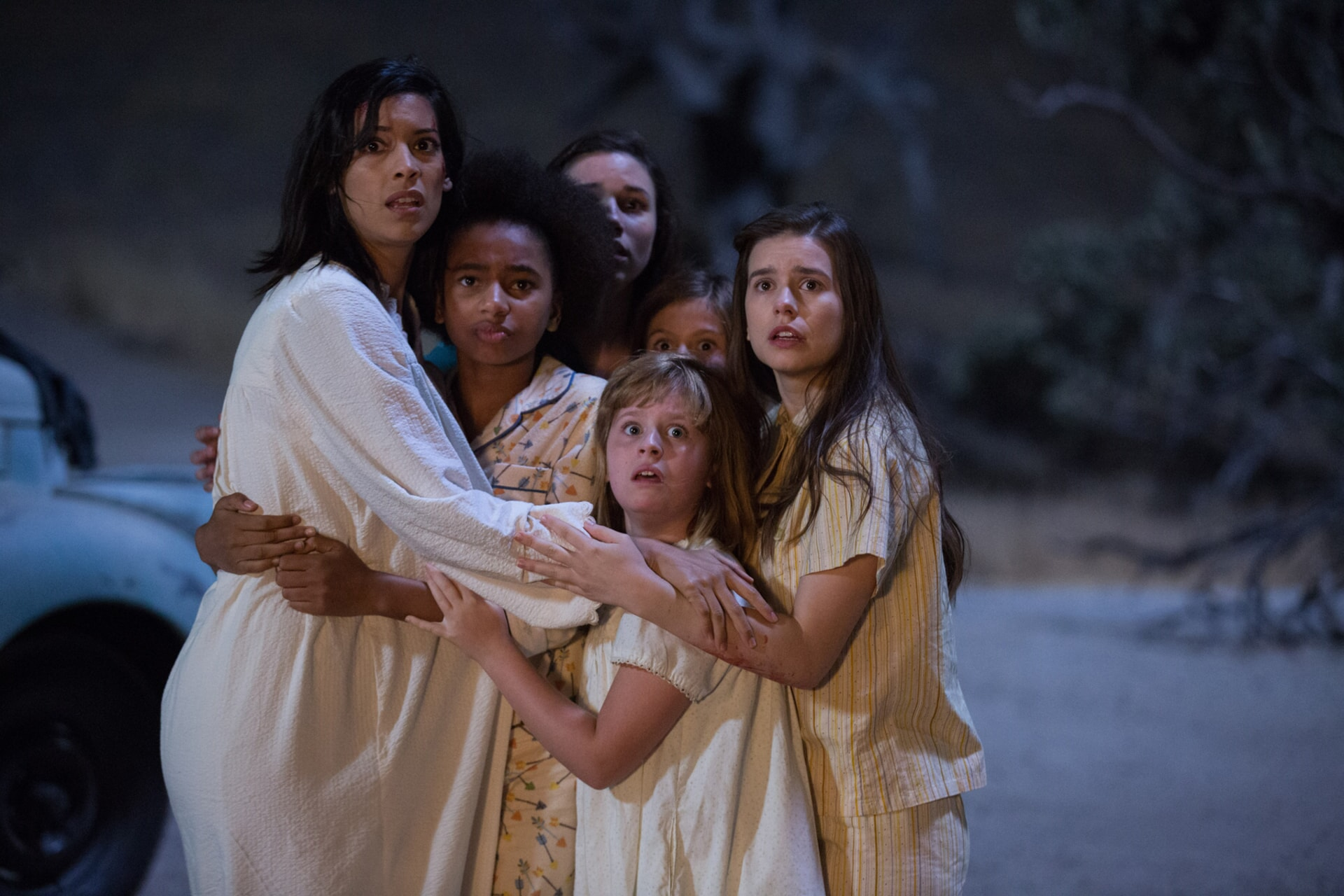 """STEPHANIE SIGMAN as Sister Charlotte, TAYLER BUCK as Kate, GRACE FULTON as Carol, LULU WILSON as Linda, LOU LOU SAFRAN as Tierney and PHILIPPA COULTHARD as Nancy in New Line Cinema's supernatural thriller """"ANNABELLE: CREATION,"""" a Warner Bros. Pictures release."""
