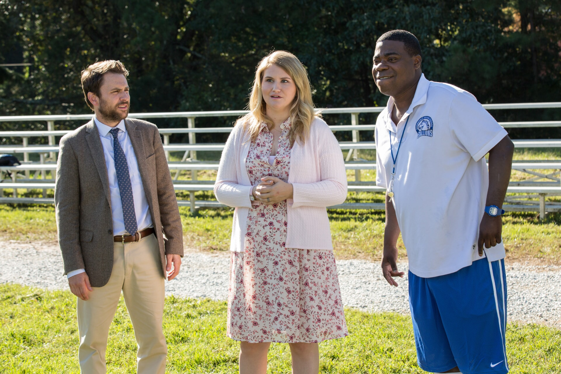 "CHARLIE DAY as Andy Campbell, JILLIAN BELL as Holly and TRACY MORGAN as Coach Crawford in the New Line Cinema and Village Roadshow Pictures comedy ""FIST FIGHT,"" a Warner Bros. Pictures release."