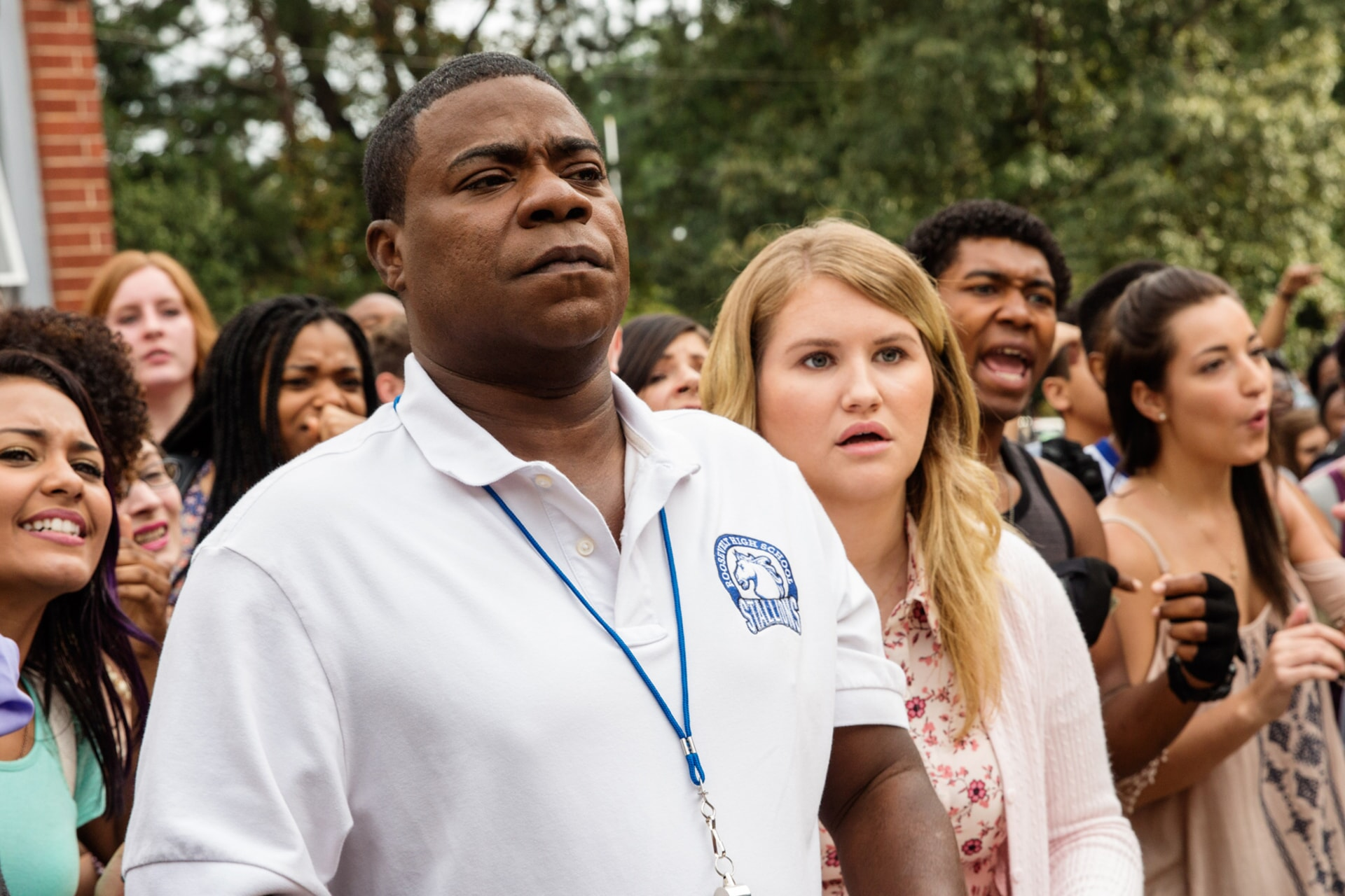 "TRACY MORGAN as Coach Crawford and JILLIAN BELL as Holly in the New Line Cinema and Village Roadshow Pictures comedy ""FIST FIGHT,"" a Warner Bros. Pictures release."