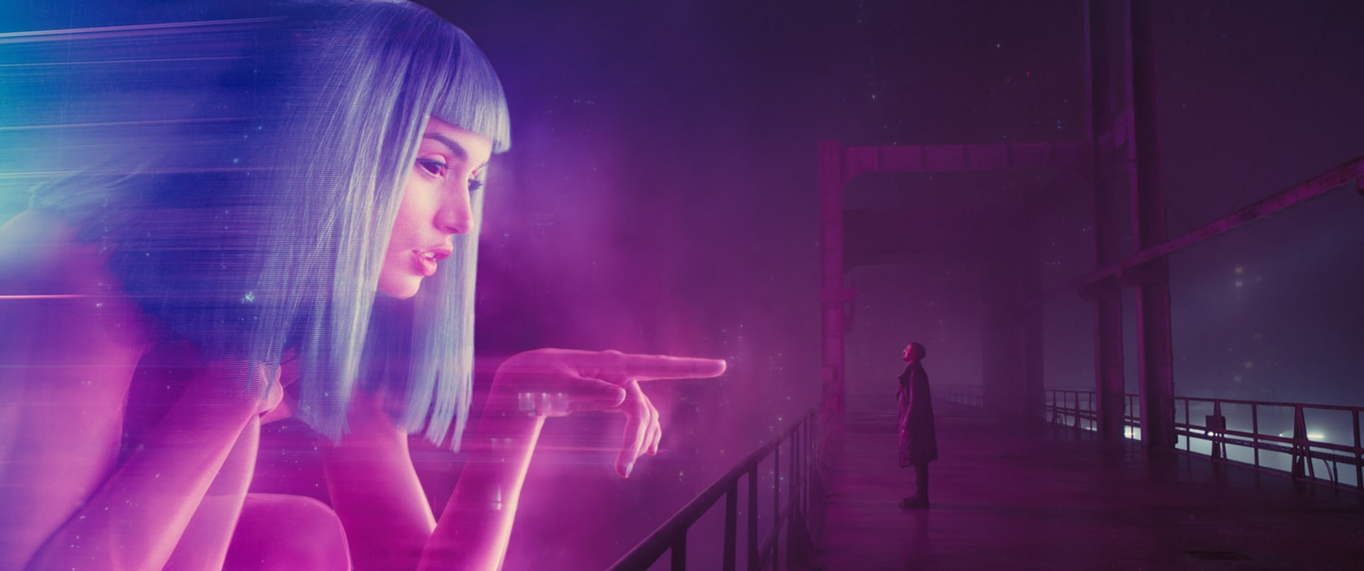 "ANA DE ARMAS as Joi and RYAN GOSLING as K in Alcon Entertainment's sci fi thriller ""BLADE RUNNER 2049,"" a Warner Bros. Pictures and Sony Pictures Entertainment release, domestic distribution by Warner Bros. Pictures and international distribution by Sony Pictures."