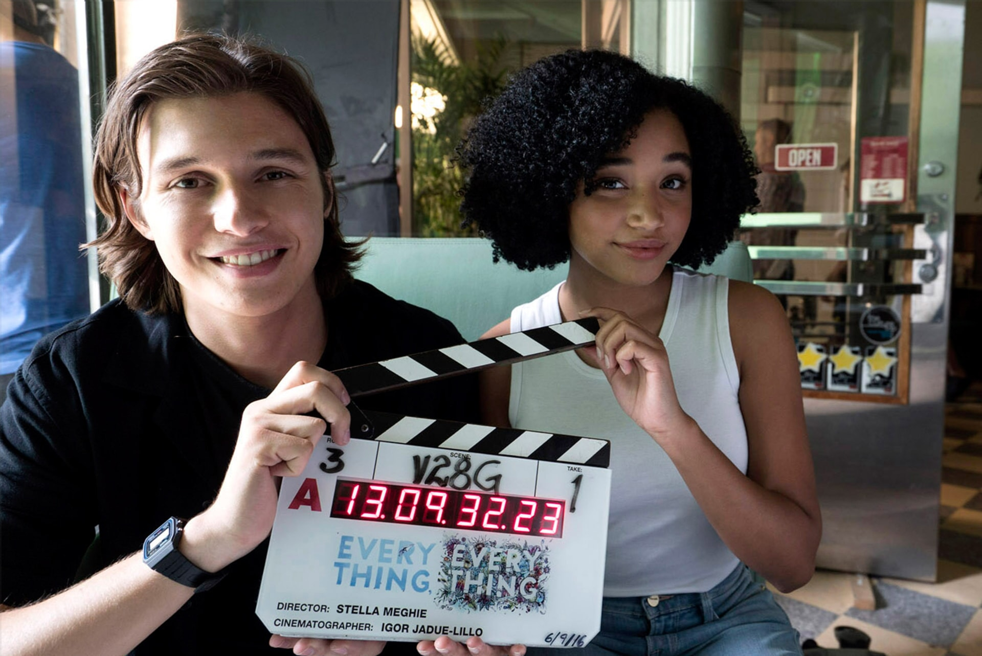 """NICK ROBINSON and AMANDLA STENBERG on the set of the Warner Bros. Pictures and Metro-Goldwyn-Mayer Pictures romantic drama """"EVERYTHING, EVERYTHING,"""" a Warner Bros. Pictures release."""