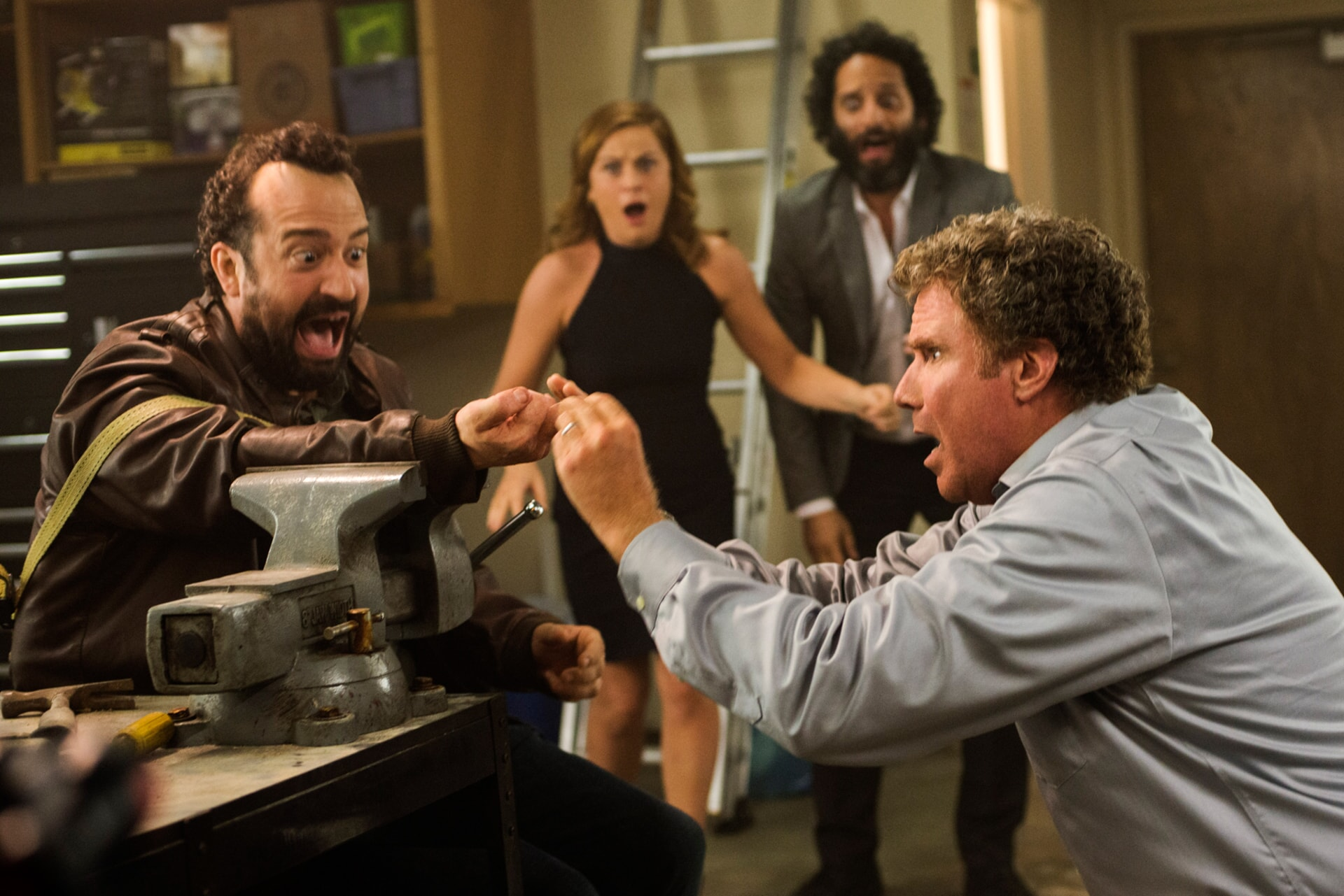 "STEVE ZISSIS as Carl Shackler, AMY POEHLER as Kate Johansen, JASON MANTZOUKAS as Frank and WILL FERRELL as Scott Johansen in the New Line Cinema and Village Roadshow Pictures comedy ""THE HOUSE,"" a Warner Bros. Pictures release."
