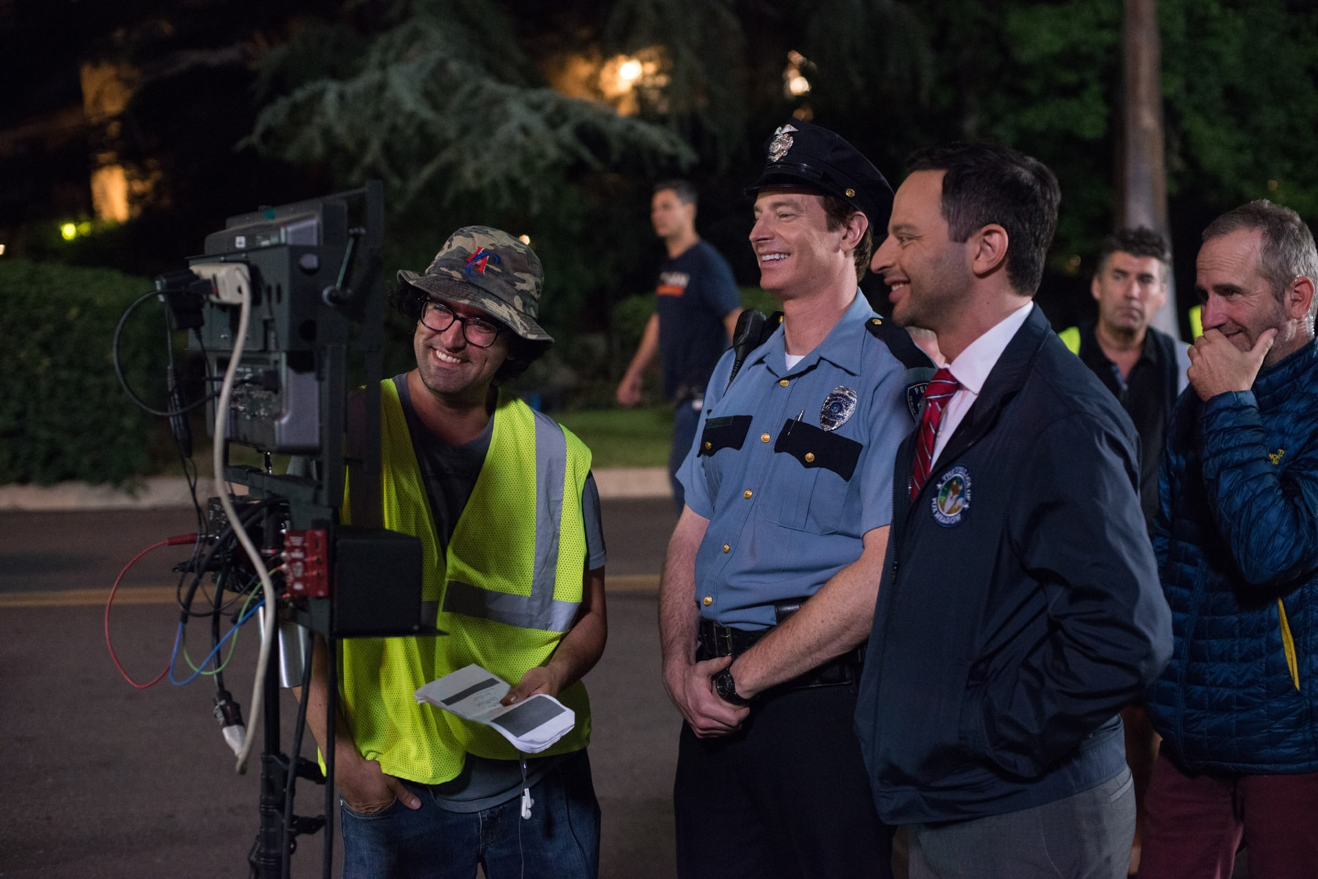 "Director/writer/producer ANDREW JAY COHEN, ROB HUEBEL and NICK KROLL on the set of the New Line Cinema and Village Roadshow Pictures comedy ""THE HOUSE,"" a Warner Bros. Pictures release."