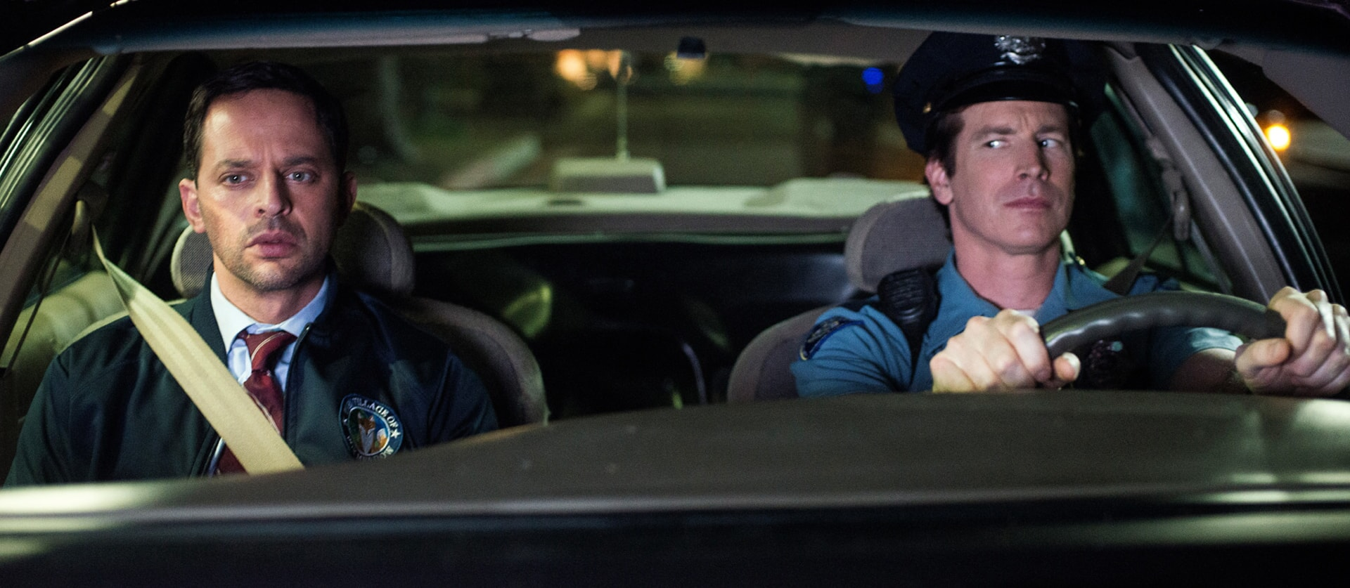 "NICK KROLL as Bob and ROB HUEBEL as Officer Chandler in the New Line Cinema and Village Roadshow Pictures comedy ""THE HOUSE,"" a Warner Bros. Pictures release."