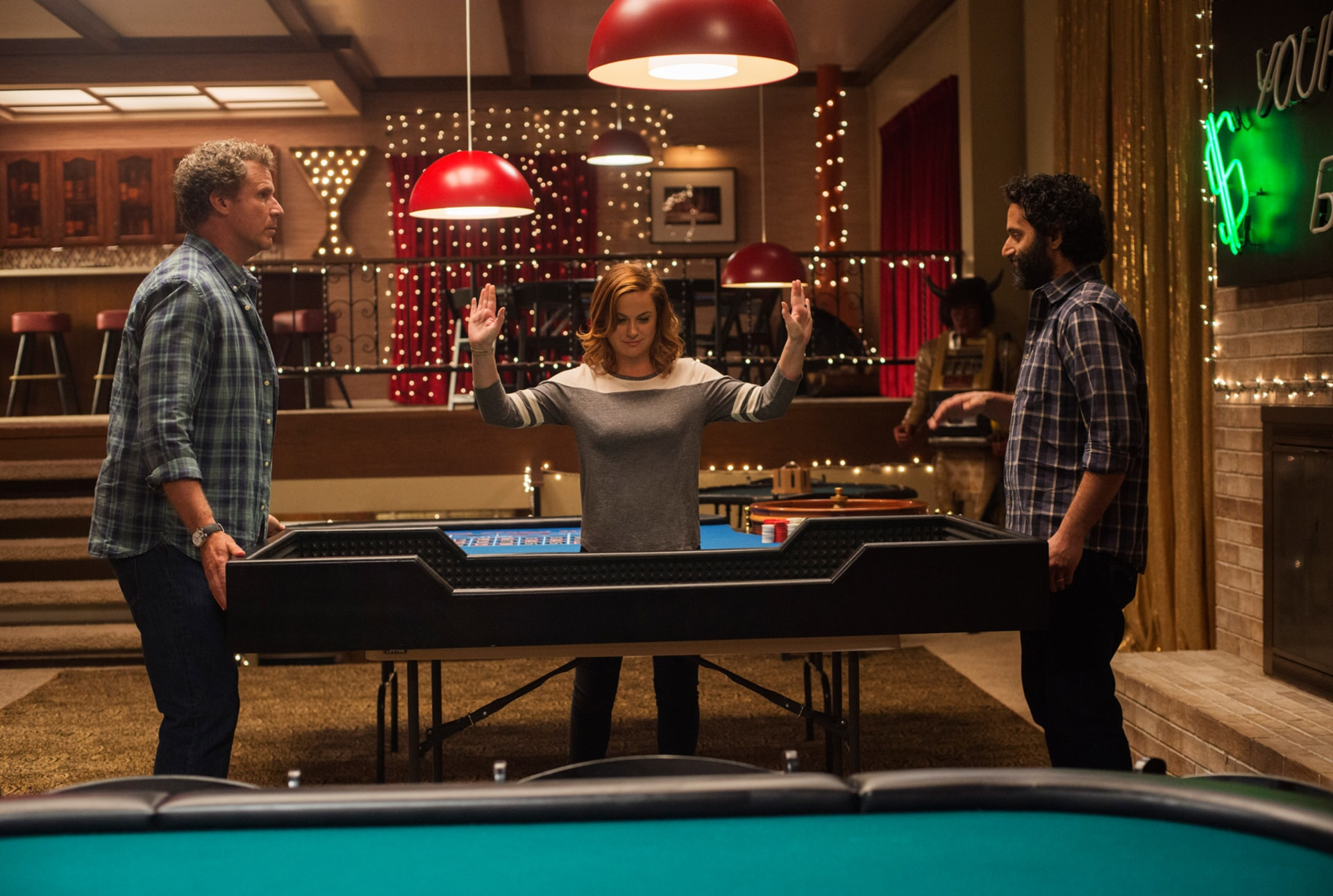 "WILL FERRELL as Scott Johansen, AMY POEHLER as Kate Johansen and JASON MANTZOUKAS as Frank in the New Line Cinema and Village Roadshow Pictures comedy ""THE HOUSE,"" a Warner Bros. Pictures release."