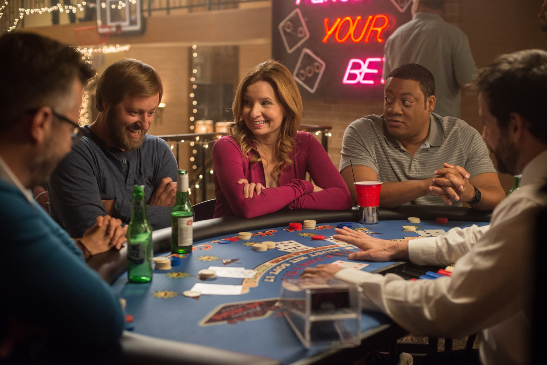 "RORY SCOVEL as Joe, LENNON PARHAM as Martha and CEDRIC YARBROUGH as Reggie in the New Line Cinema and Village Roadshow Pictures comedy ""THE HOUSE,"" a Warner Bros. Pictures release."