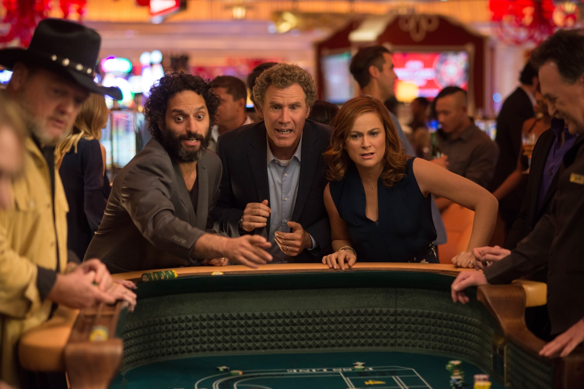 "JASON MANTZOUKAS as Frank, WILL FERRELL as Scott Johansen and AMY POEHLER as Kate Johansen in the New Line Cinema and Village Roadshow Pictures comedy ""THE HOUSE,"" a Warner Bros. Pictures release."