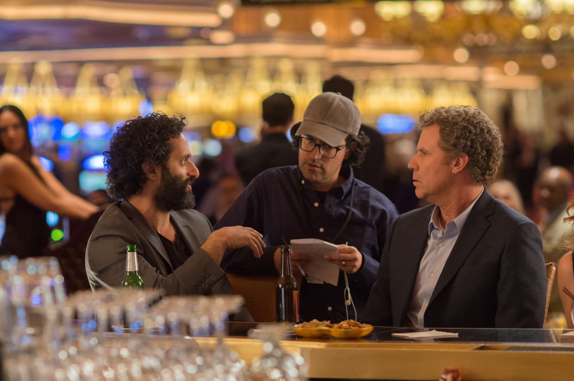 "ASON MANTZOUKAS, director/writer/producer ANDREW JAY COHEN and WILL FERRELL on the set of the New Line Cinema and Village Roadshow Pictures comedy ""THE HOUSE,"" a Warner Bros. Pictures release."