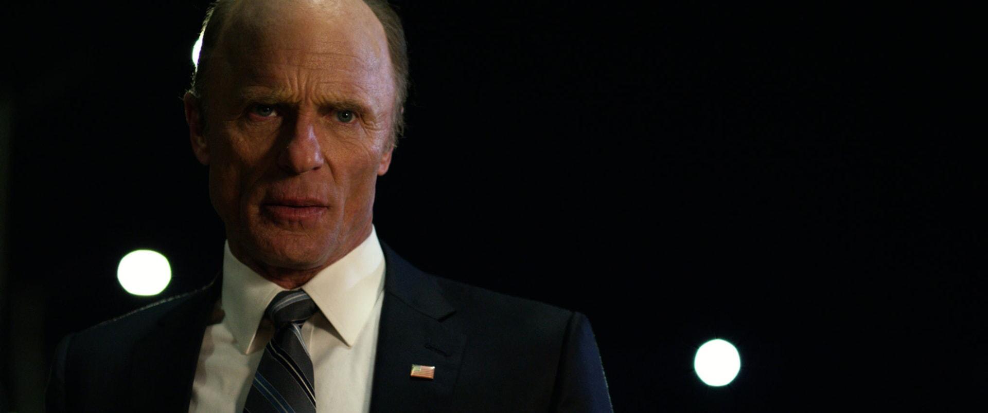 "ED HARRIS as Secretary of State Leonard Dekkom in Warner Bros. Pictures' and Skydance's suspense thriller ""GEOSTORM,"" a Warner Bros. Pictures release."