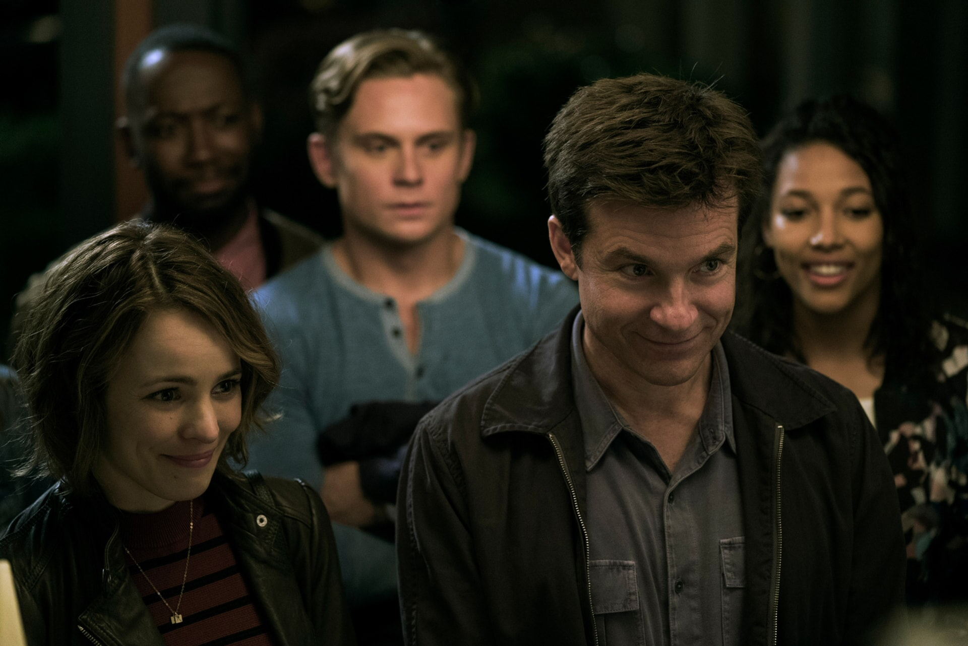 """RACHEL McADAMS as Annie, LAMORNE MORRIS as Kevin, BILLY MAGNUSSEN as Ryan, JASON BATEMAN as Max and KYLIE BUNBURY as Michelle in New Line Cinema's action comedy """"GAME NIGHT,"""" a Warner Bros. Pictures release."""