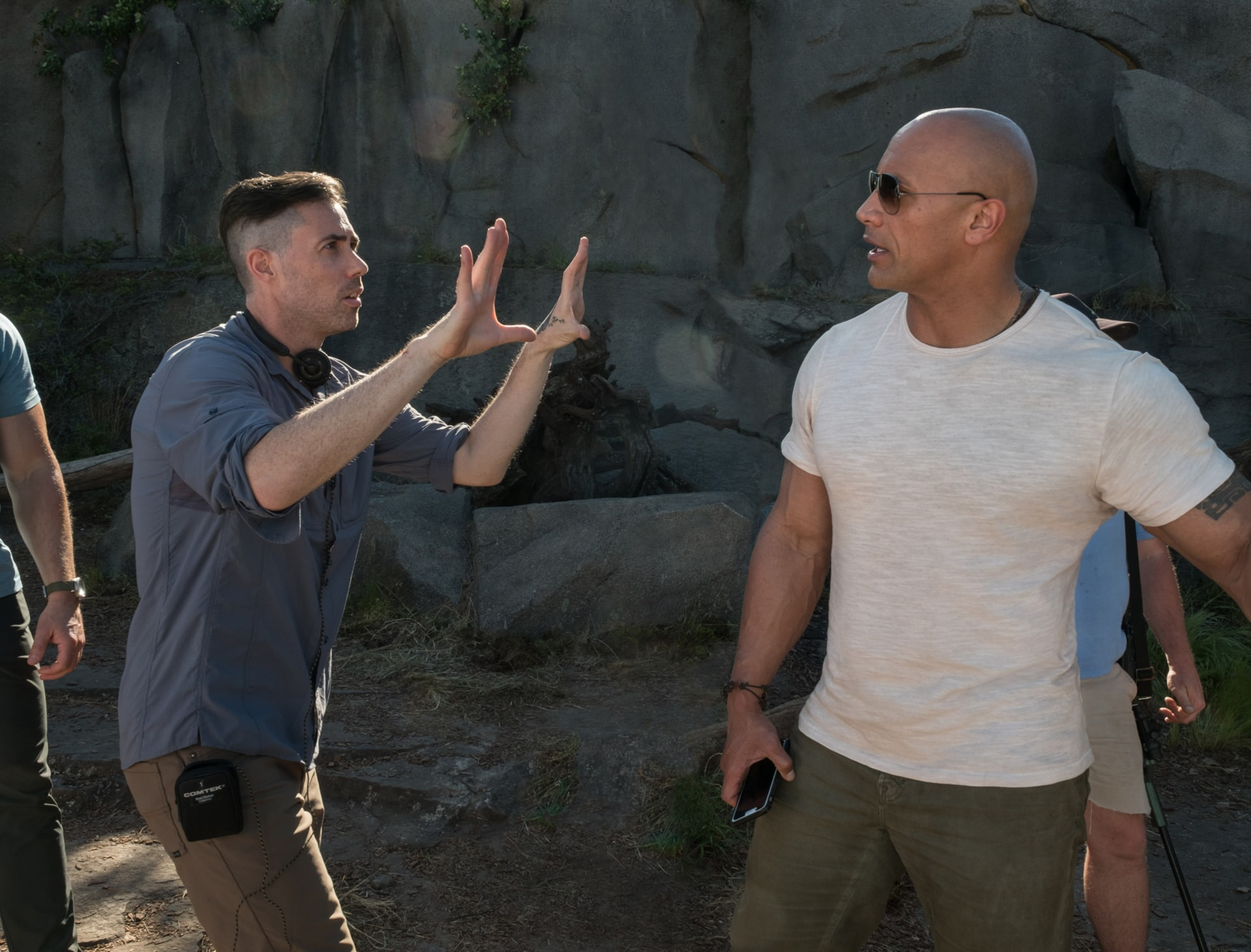 """(L-R) Director/producer BRAD PEYTON and DWAYNE JOHNSON on the set of New Line Cinema's and ASAP Entertainment's action adventure """"RAMPAGE,"""" a Warner Bros. Pictures release."""