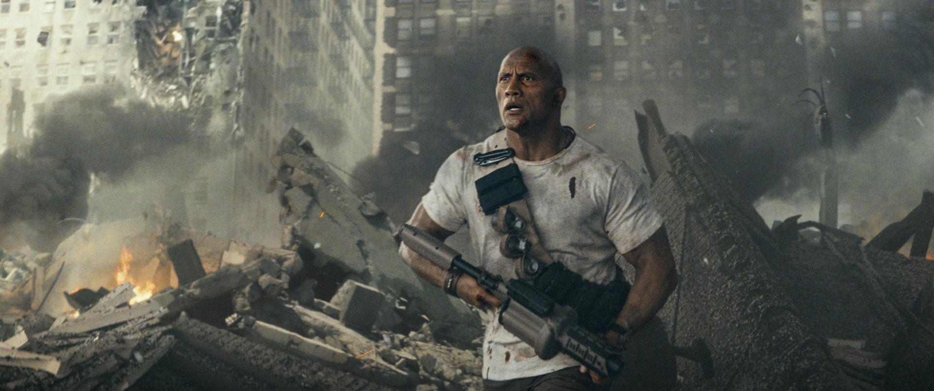 "DWAYNE JOHNSON as Davis Okoye in New Line Cinema's action adventure ""RAMPAGE,"" a Warner Bros. Pictures' release."