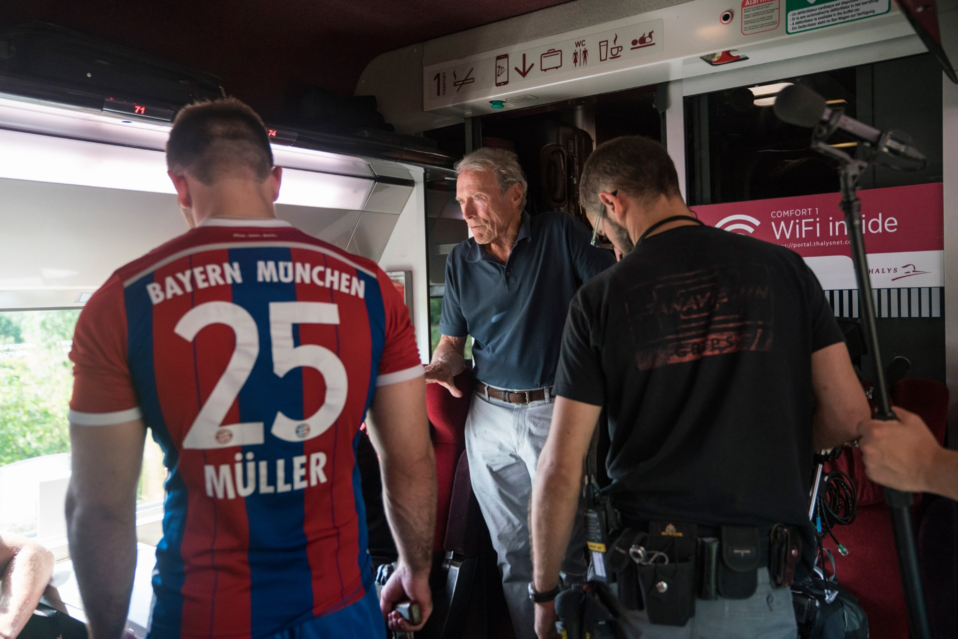 """(L-R) ALEK SKARLATOS and director/producer CLINT EASTWOOD on the set of Warner Bros. Pictures' and Village Roadshow Pictures' """"THE 15:17 TO PARIS,"""" a Warner Bros. Pictures release."""