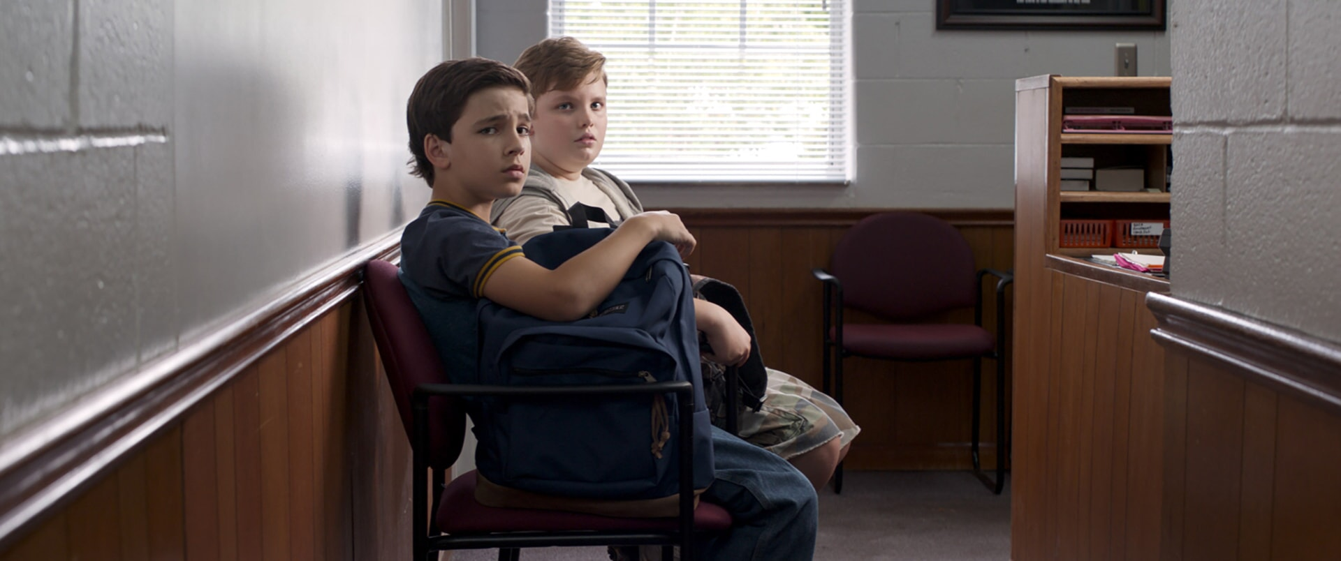 """BRYCE GHEISAR as Alek (11-14) and WILLIAM JENNINGS as Spencer (11-14) in Warner Bros. Pictures' and Village Roadshow Pictures' """"THE 15:17 TO PARIS,"""" a Warner Bros. Pictures release."""