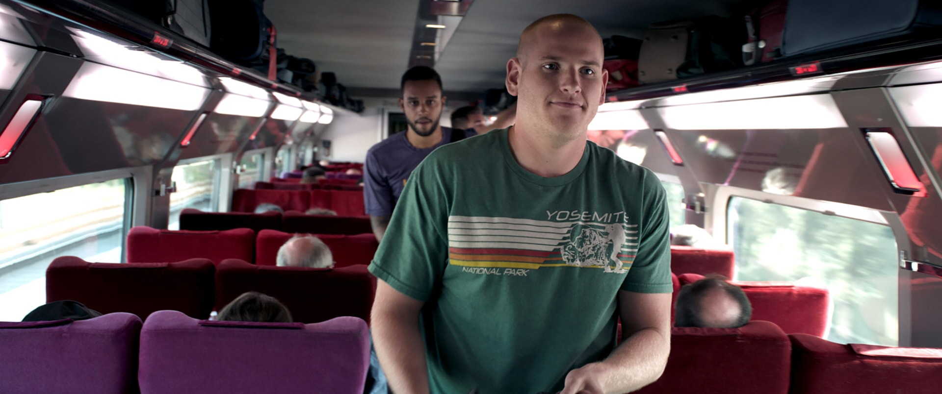 """ANTHONY SADLER as Anthony and SPENCER STONE as Spencer in Warner Bros. Pictures' and Village Roadshow Pictures' """"THE 15:17 TO PARIS,"""" a Warner Bros. Pictures release."""