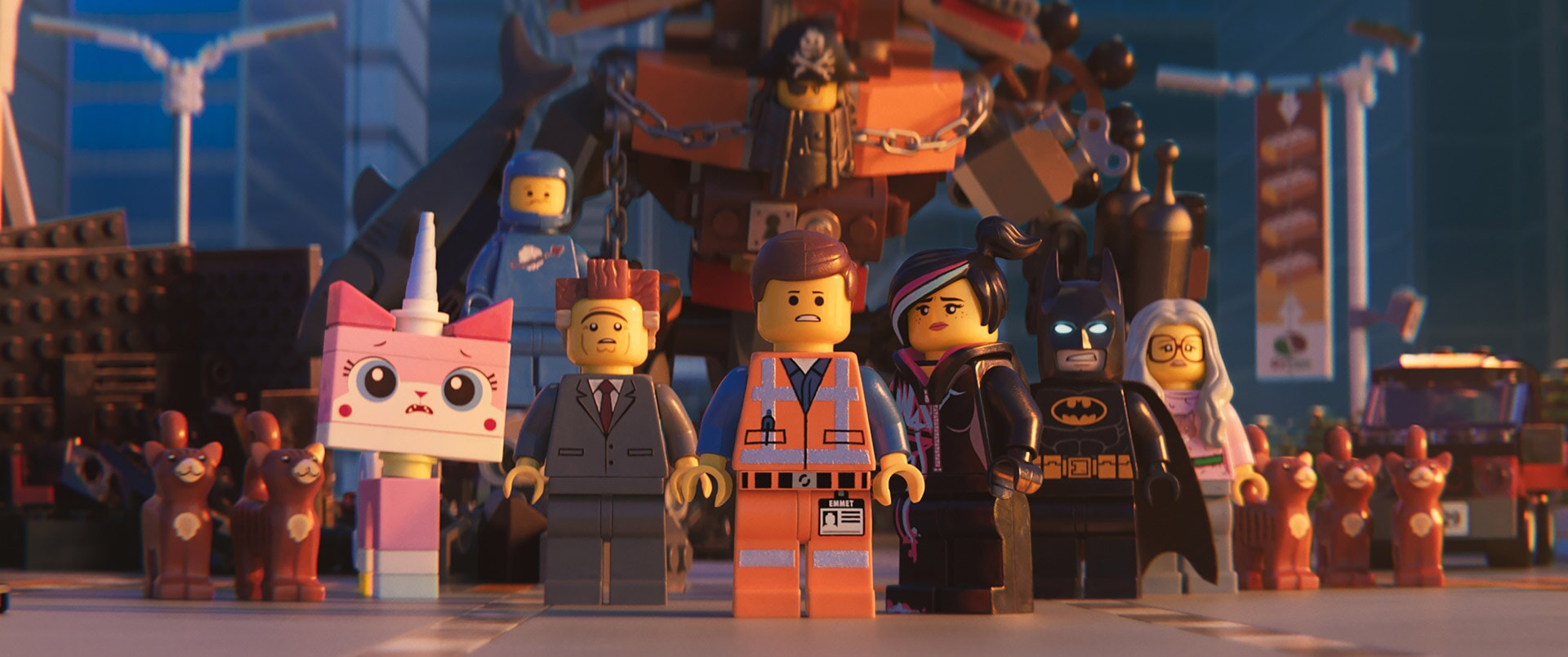 (L-R) Unikitty (ALISON BRIE), Benny (CHARLIE DAY), President Business (WILL FERRELL), MetalBeard (NICK OFFERMAN), Emmet (CHRIS PRATT), Lucy/Wyldstyle (ELIZABETH BANKS) and Batman (WILL ARNETT)