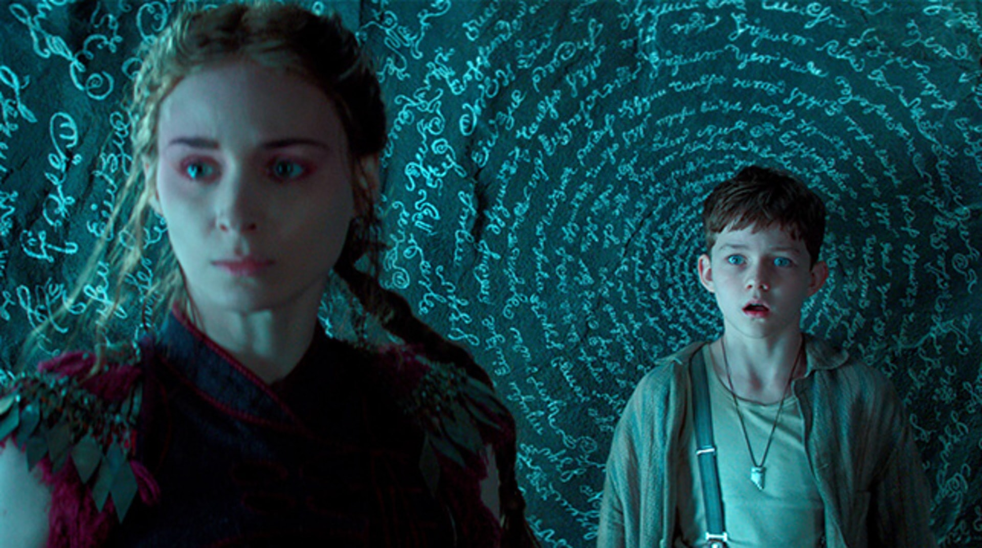 "ROONEY MARA as Tiger Lily and LEVI MILLER as Peter in Warner Bros. Pictures' and RatPac-Dune Entertainment's action adventure ""PAN,"" a Warner Bros. Pictures release."