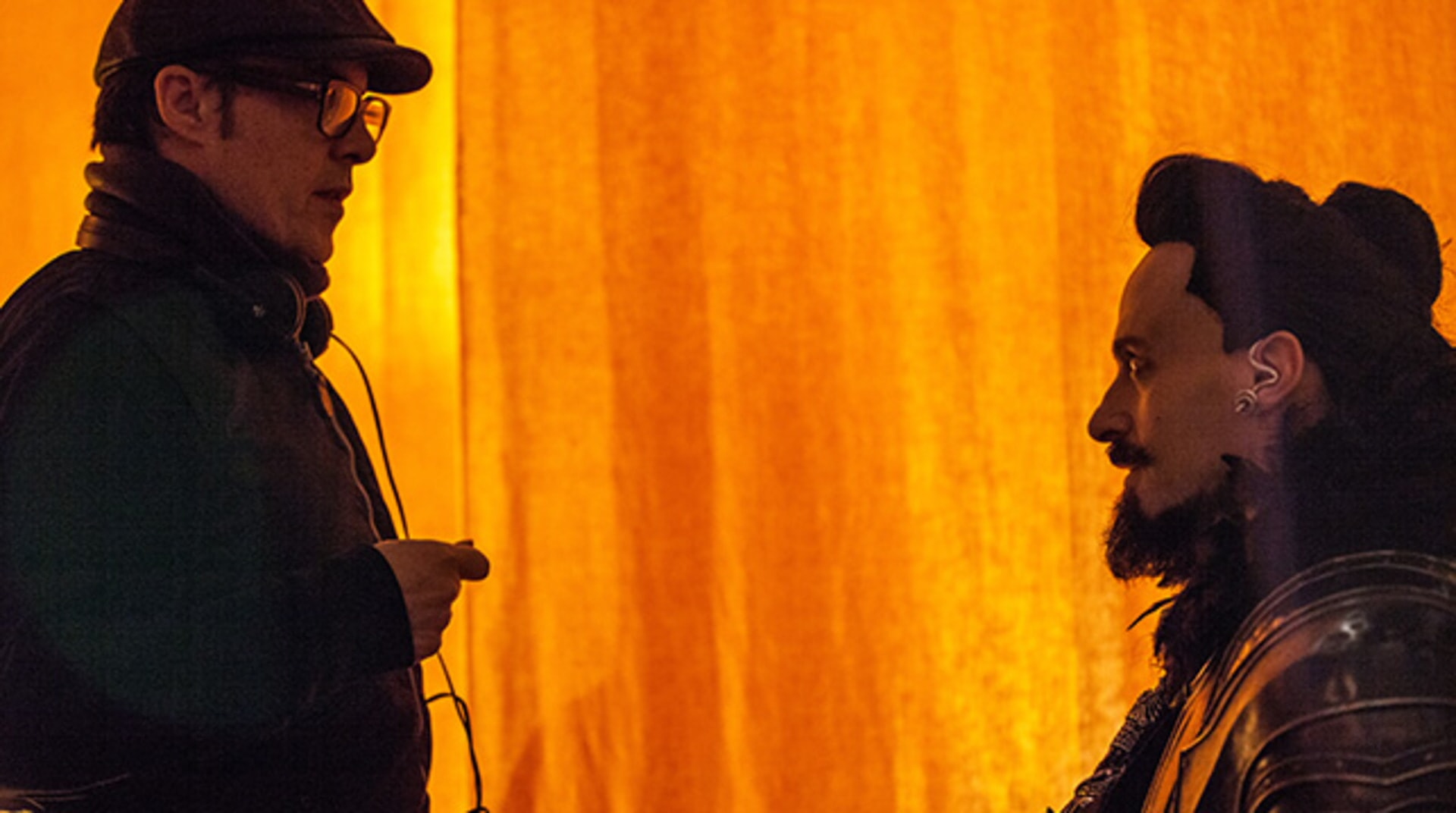 "Director JOE WRIGHT and HUGH JACKMAN on the set of Warner Bros. Pictures' and RatPac-Dune Entertainment's action adventure ""PAN,"" a Warner Bros. Pictures release."