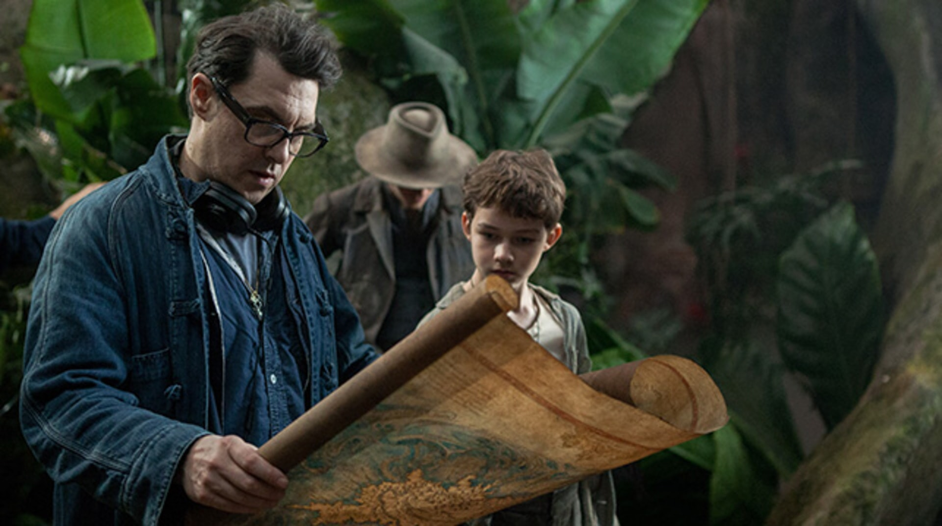 """Director JOE WRIGHT and LEVI MILLER on the set of Warner Bros. Pictures' and RatPac-Dune Entertainment's action adventure """"PAN,"""" a Warner Bros. Pictures release."""