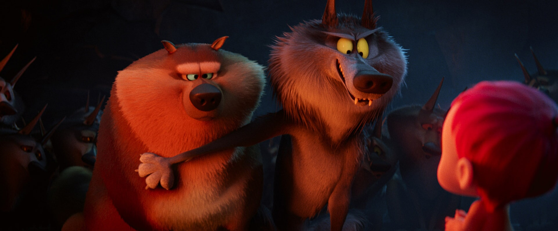 Beta Wolf voiced by JORDAN PEELE and Alpha Wolf voiced by KEEGAN-MICHAEL KEY