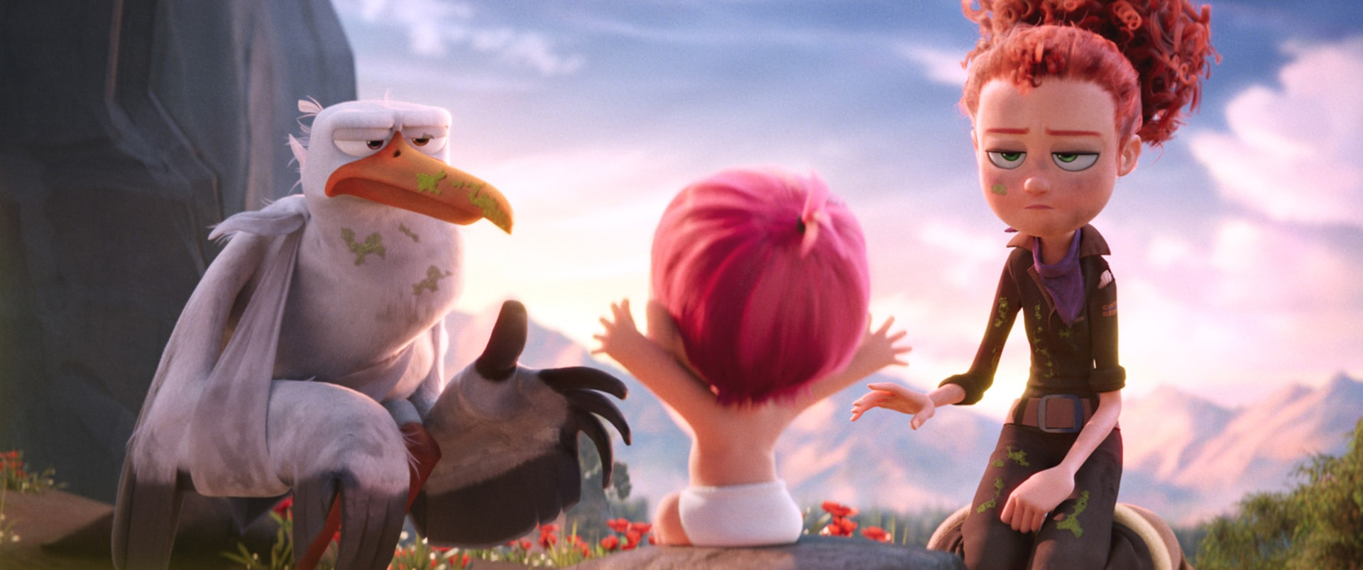 "Junior voiced by ANDY SAMBERG, the baby and Tulip voiced by KATIE CROWN in the new animated adventure ""STORKS,"" a Warner Bros. Pictures release."