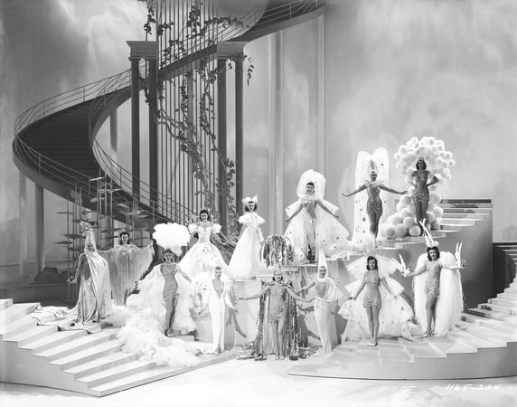 High angle shot of Ziegfeld girls in costume on stage